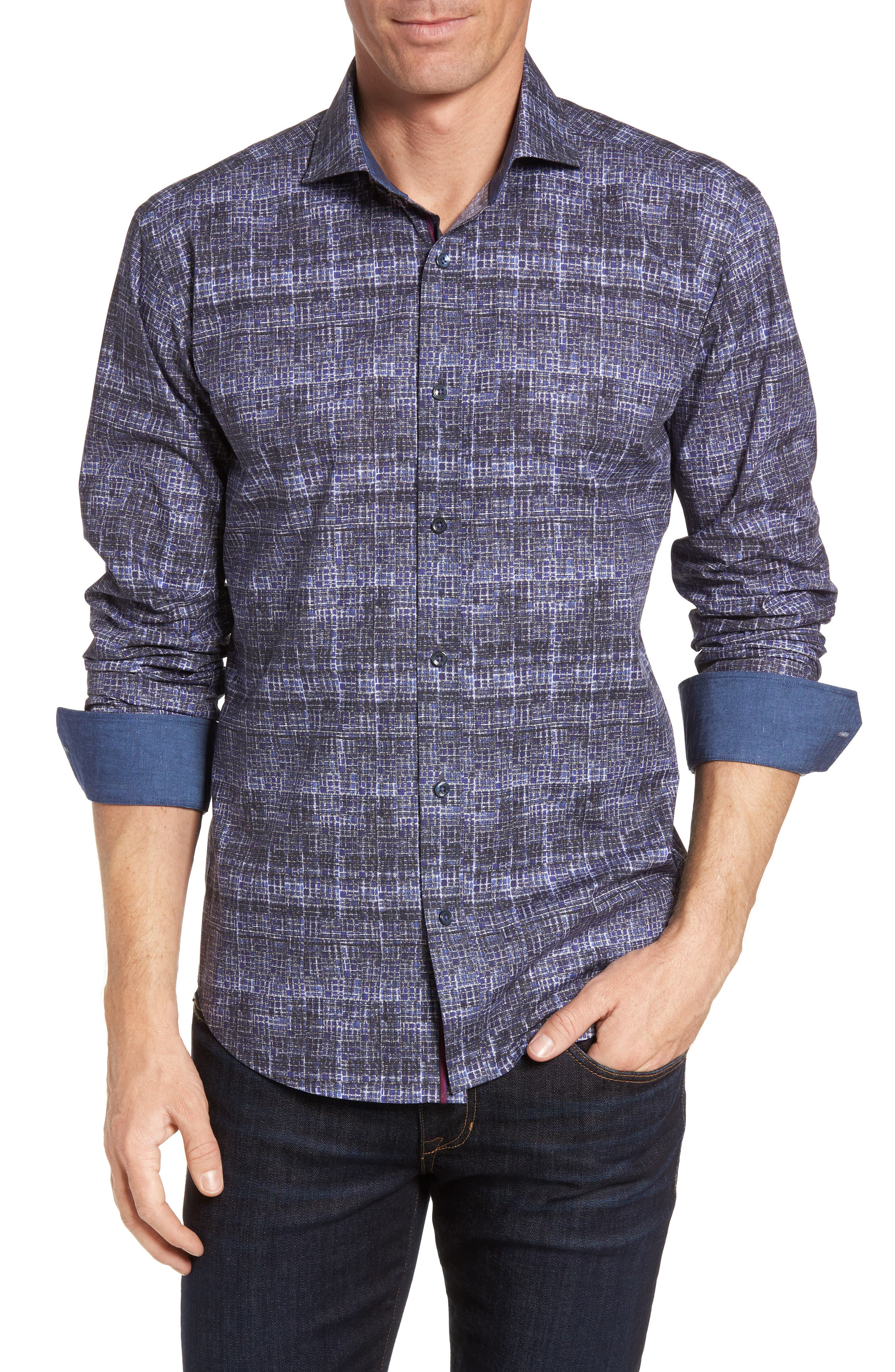Shaped Fit Abstract Print Sport Shirt,                         Main,                         color, Orchid