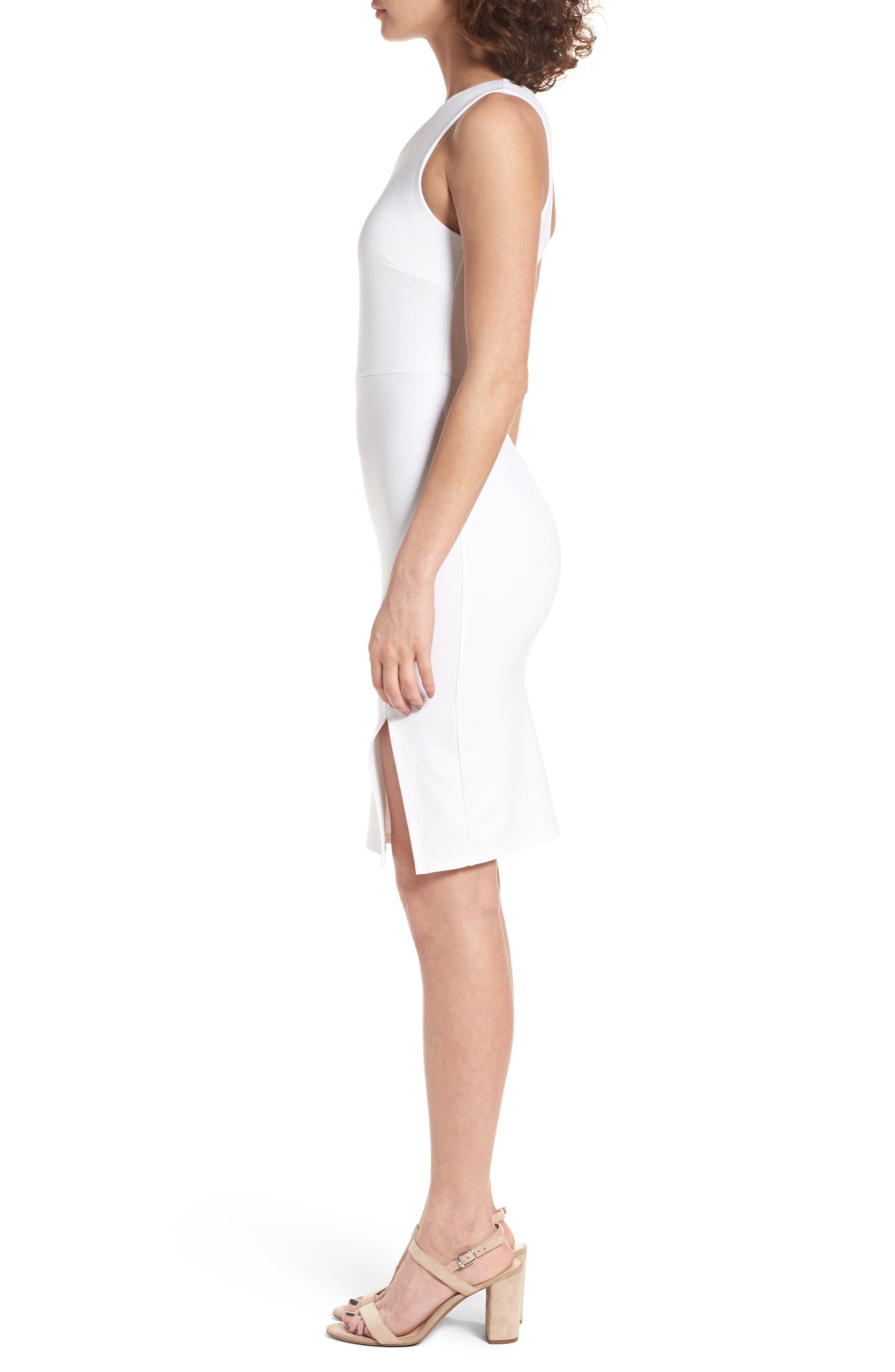 One-Shoulder Body-Con Minidress,                             Alternate thumbnail 3, color,                             Ivory