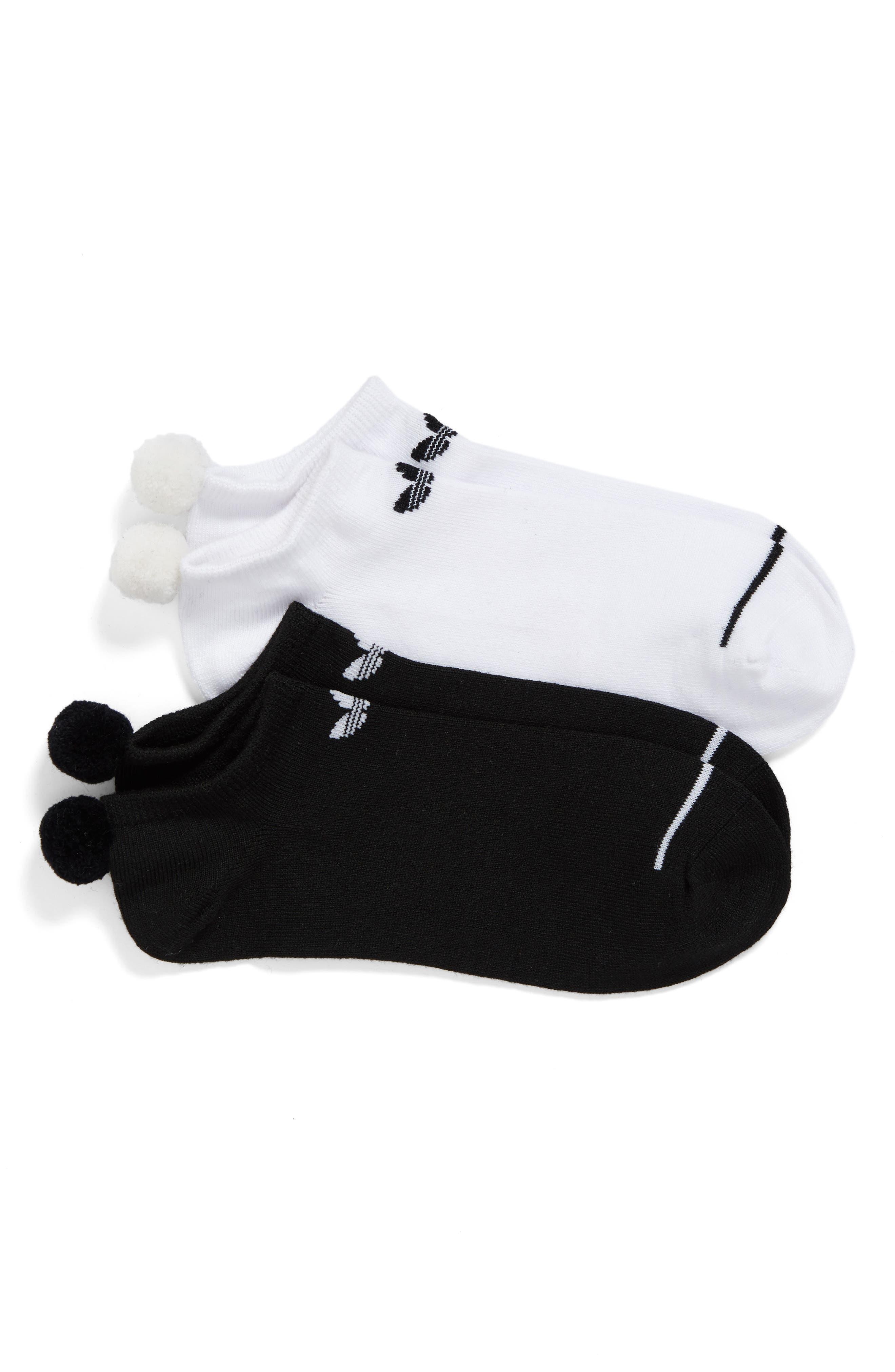 Original 2-Pack No-Show Pom Socks,                             Main thumbnail 1, color,                             Black Assorted