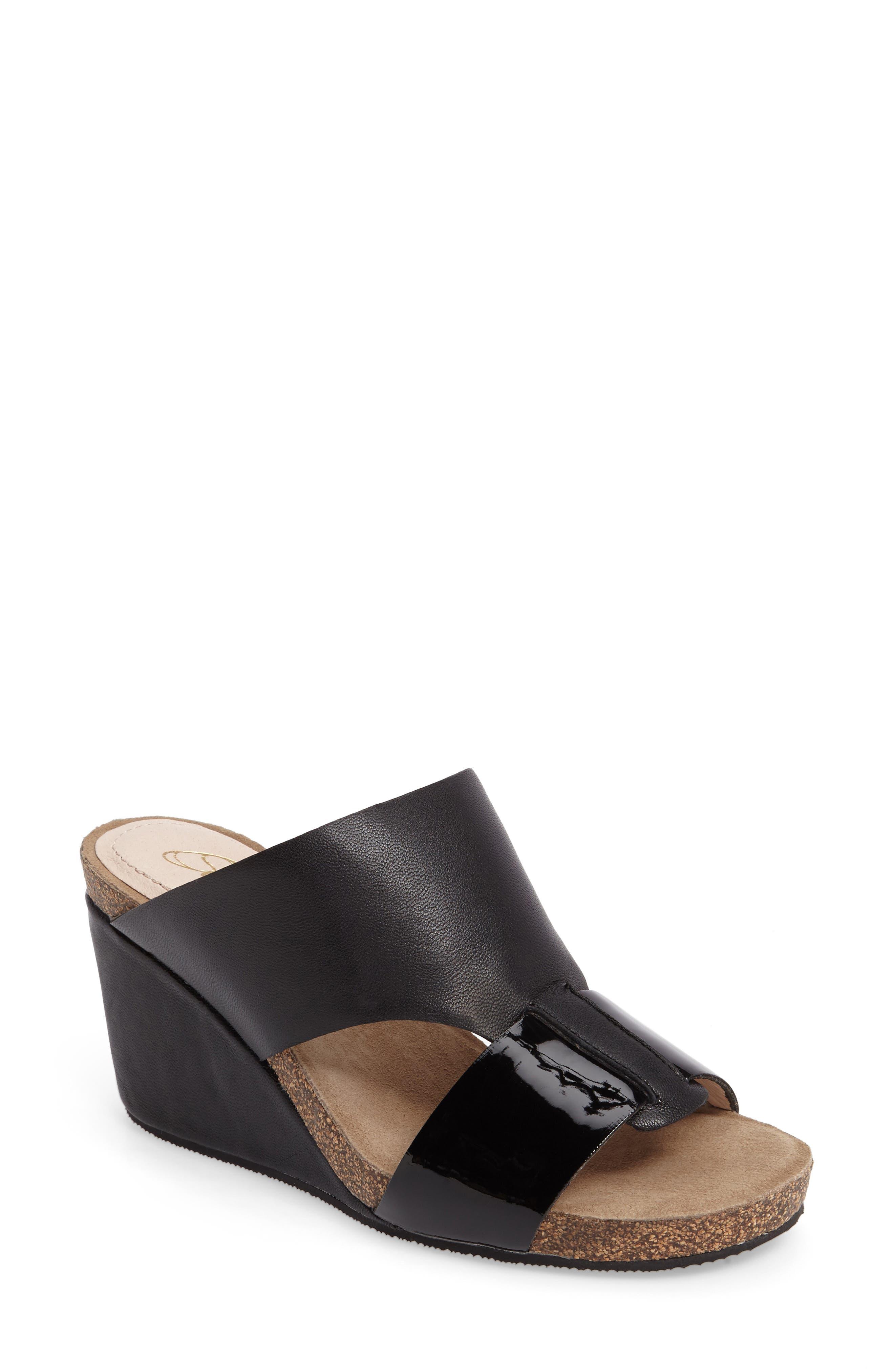 Berta Wedge Sandal,                             Main thumbnail 1, color,                             Black Leather