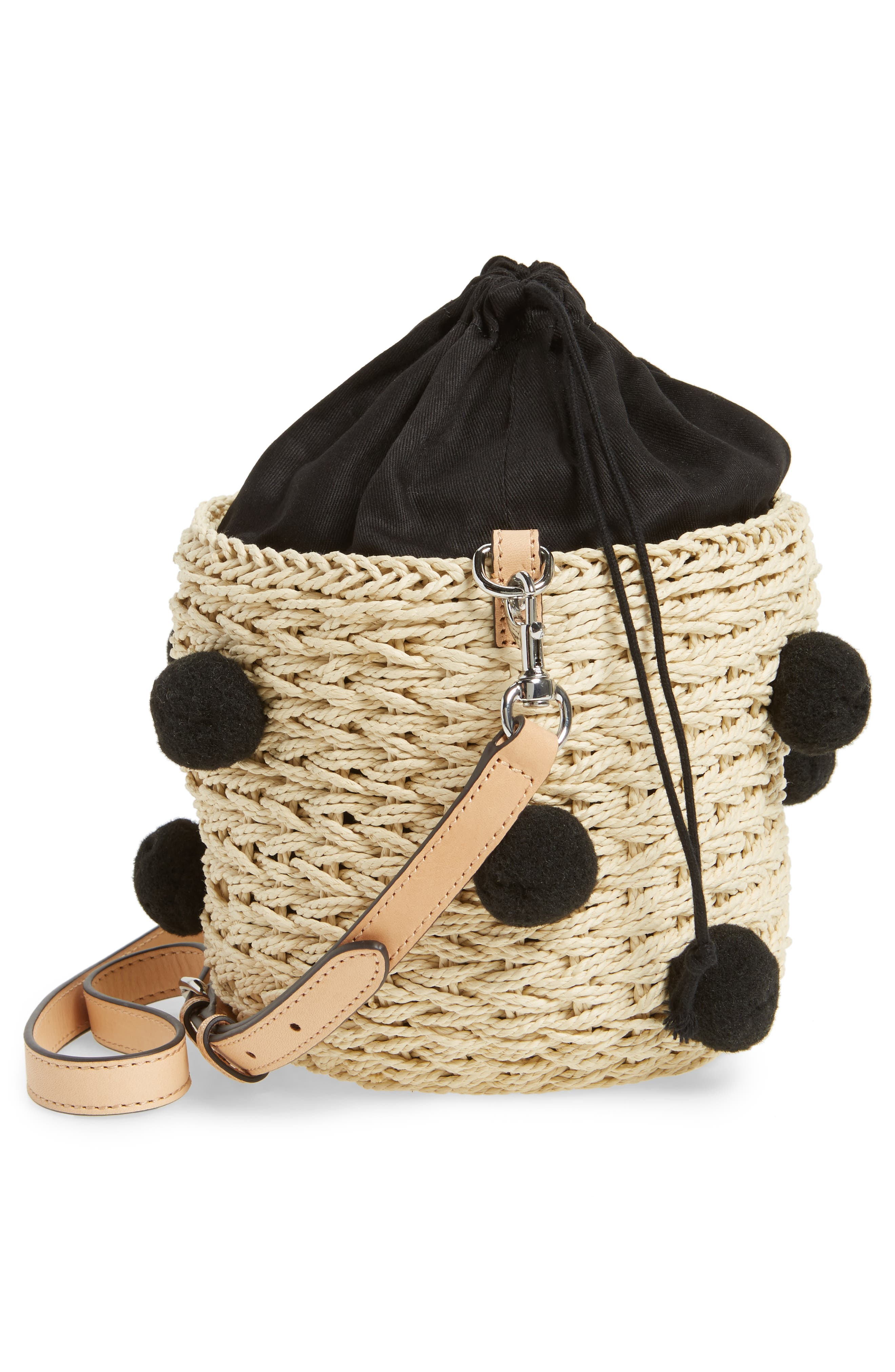 Straw Pom Pom Bucket Bag,                             Alternate thumbnail 5, color,                             Natural