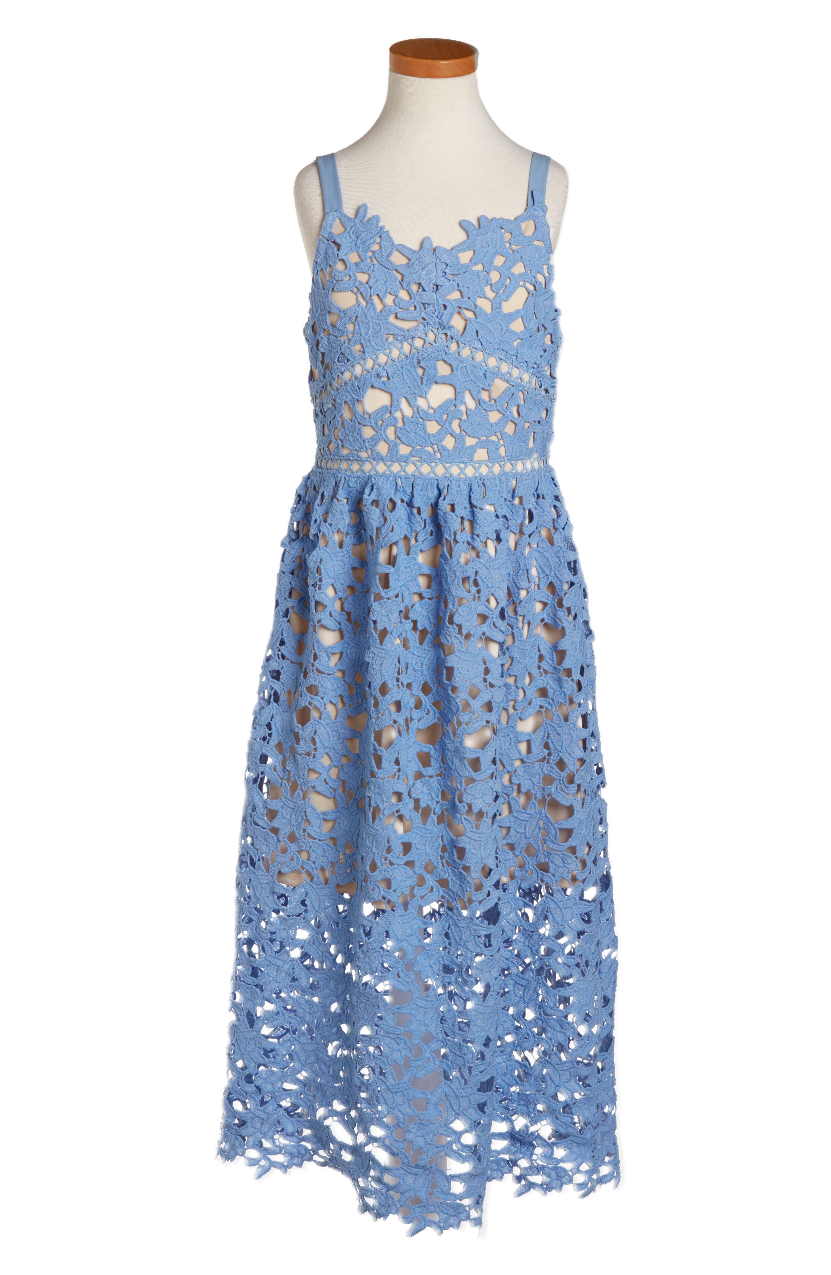 Alternate Image 1 Selected - Trixxi Floral Lace Dress (Big Girls)