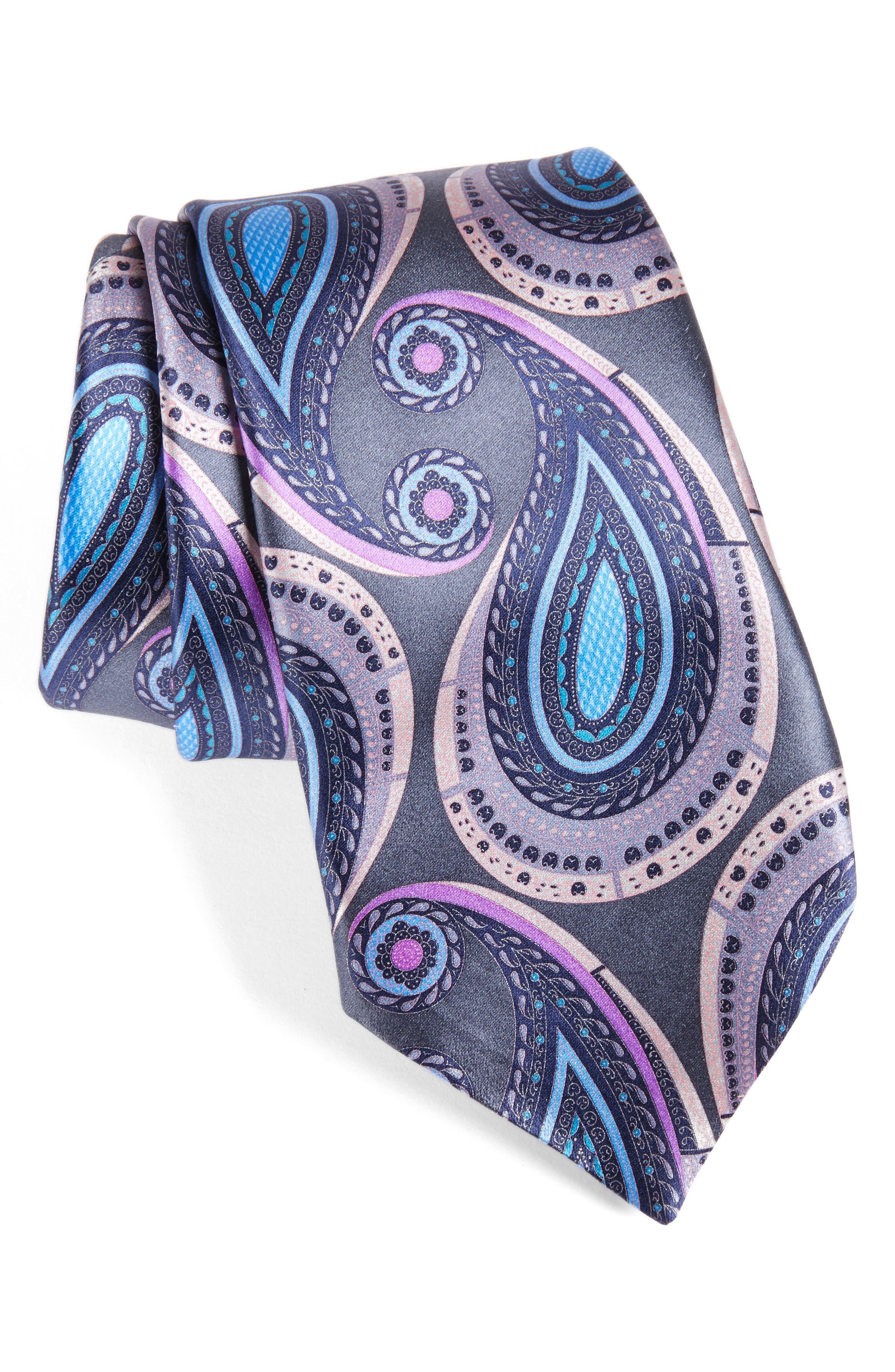 Paisley Silk Tie,                         Main,                         color, Medium Grey