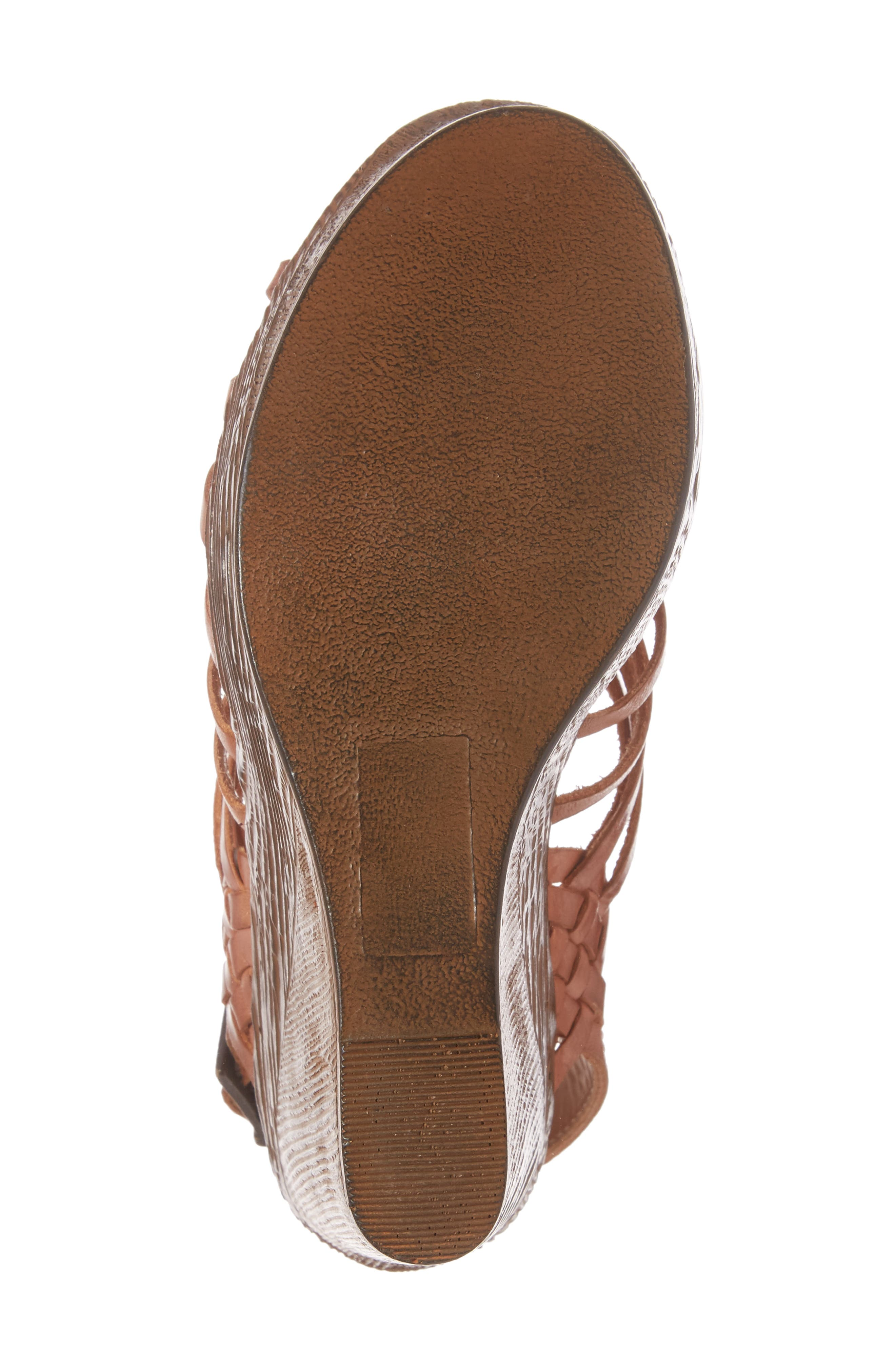 Prolific Wedge Sandal,                             Alternate thumbnail 6, color,                             Tan Leather
