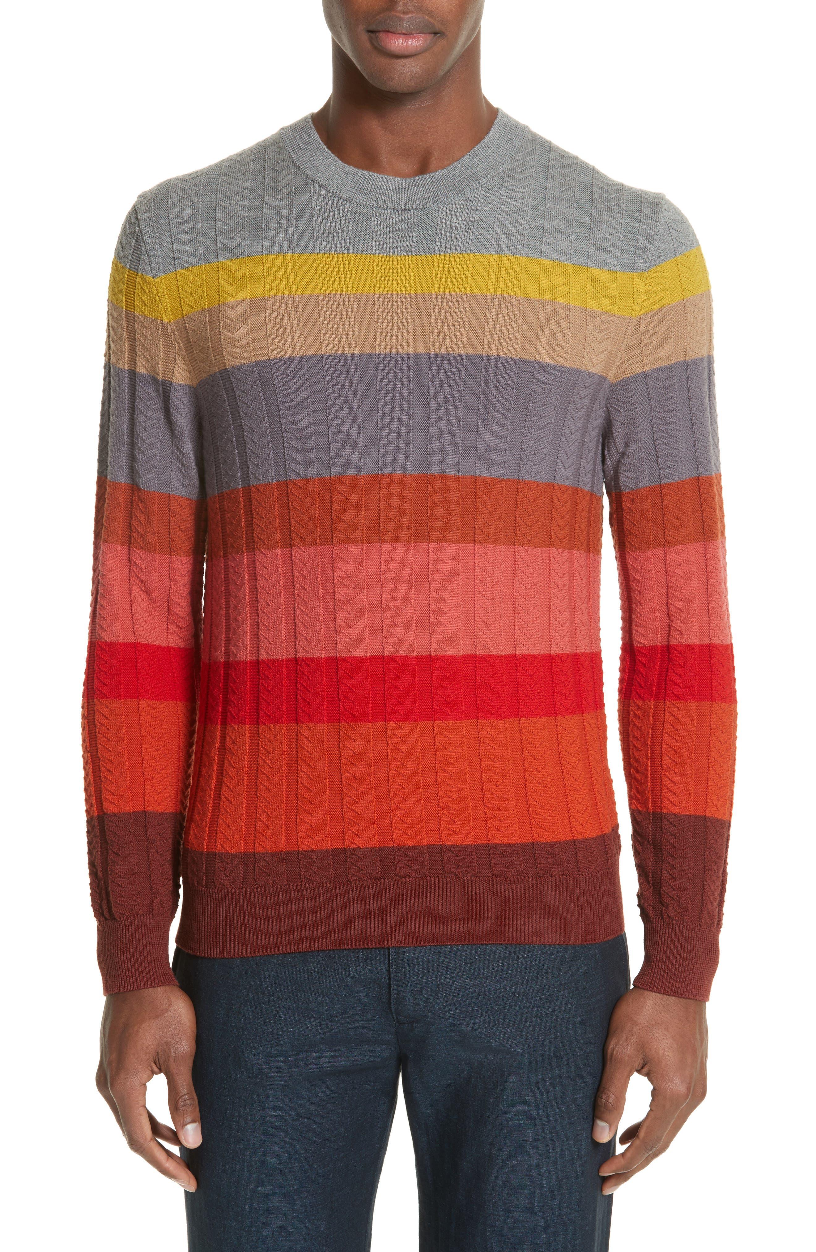 Paul Smith Multistripe Merino Cable Knit Sweater