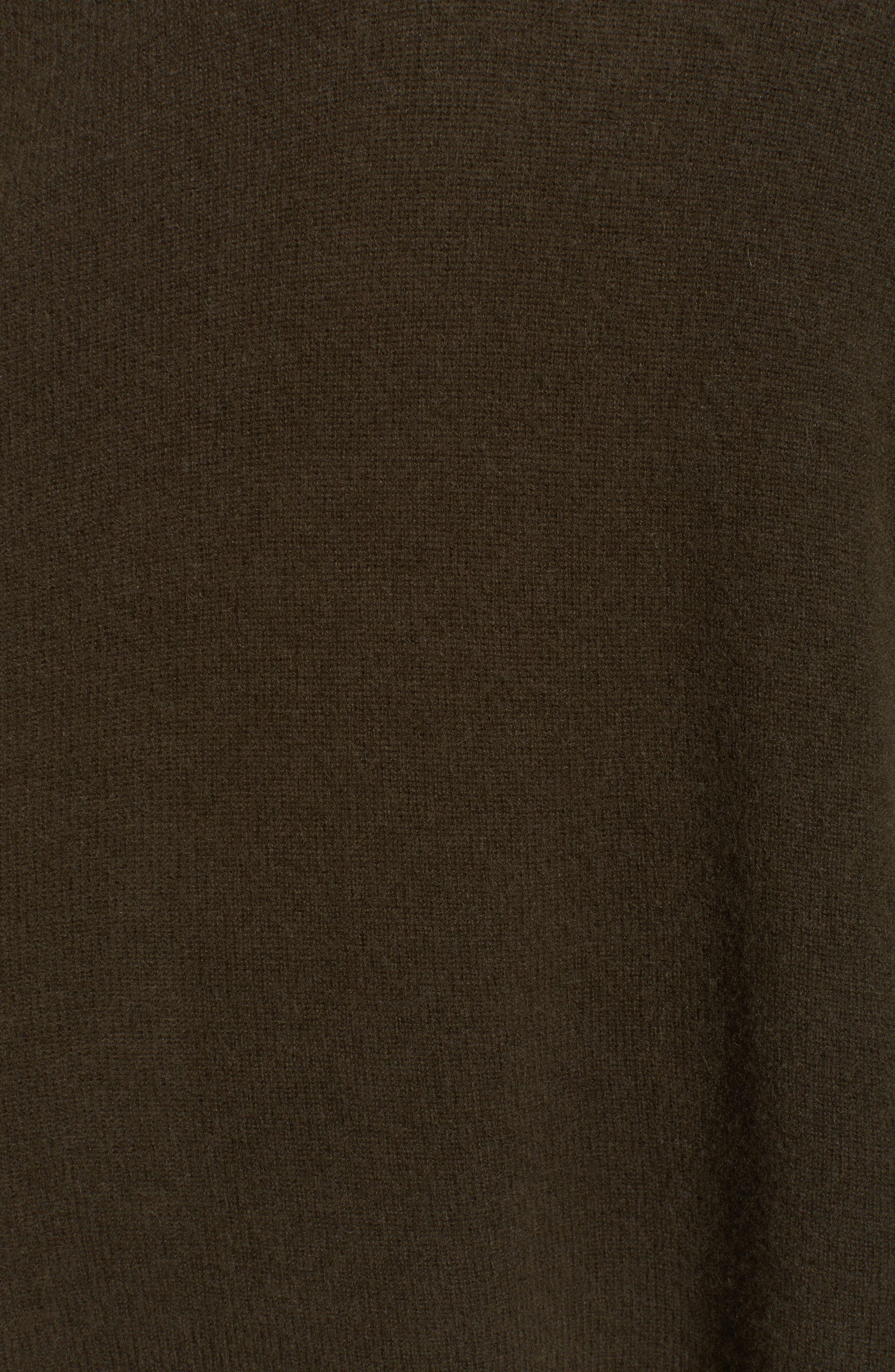 Halogen Cashmere Poncho,                             Alternate thumbnail 6, color,                             Olive Dark