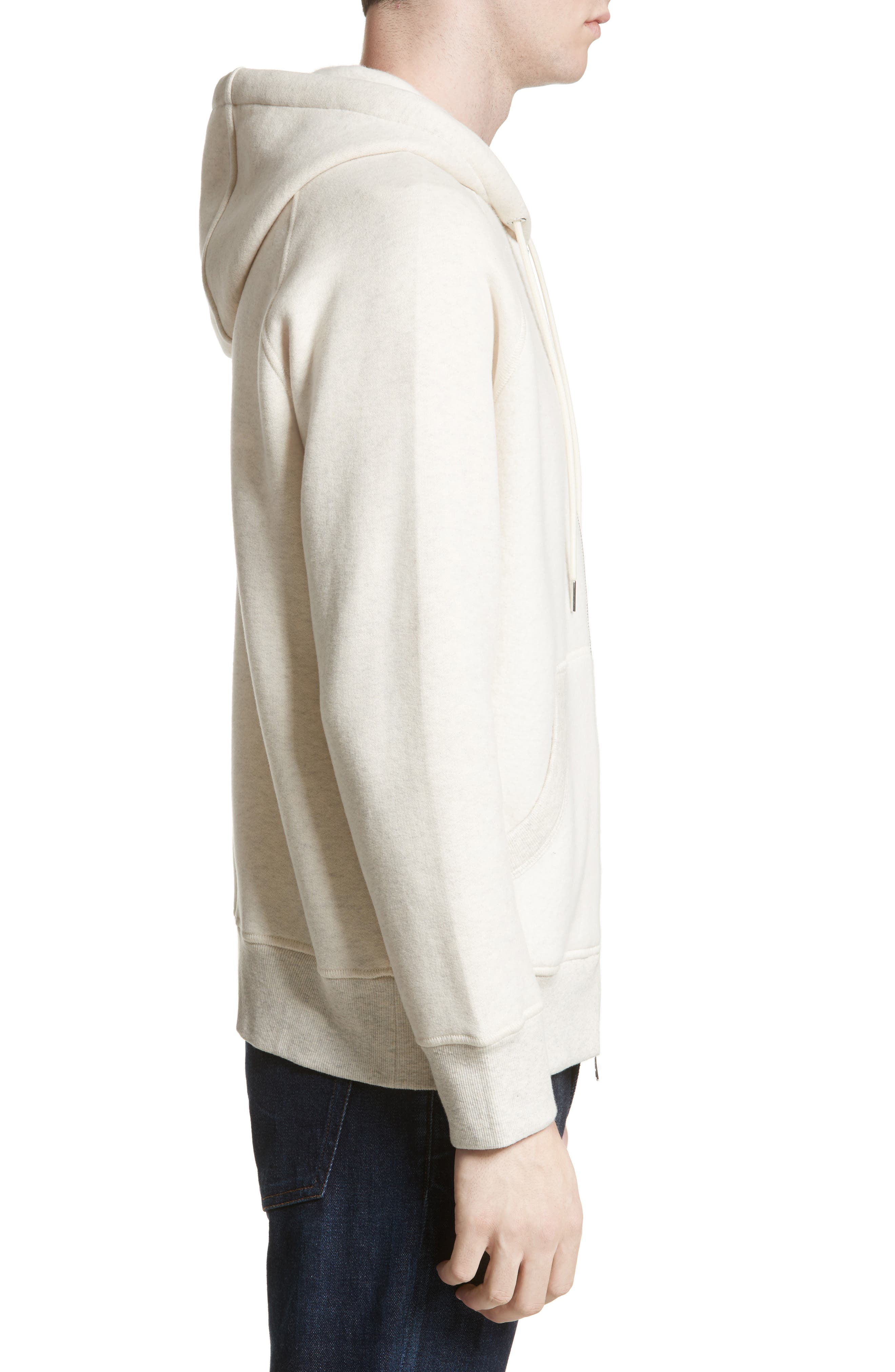 Maglia Front Zip Hooded Sweatshirt,                             Alternate thumbnail 3, color,                             Off White