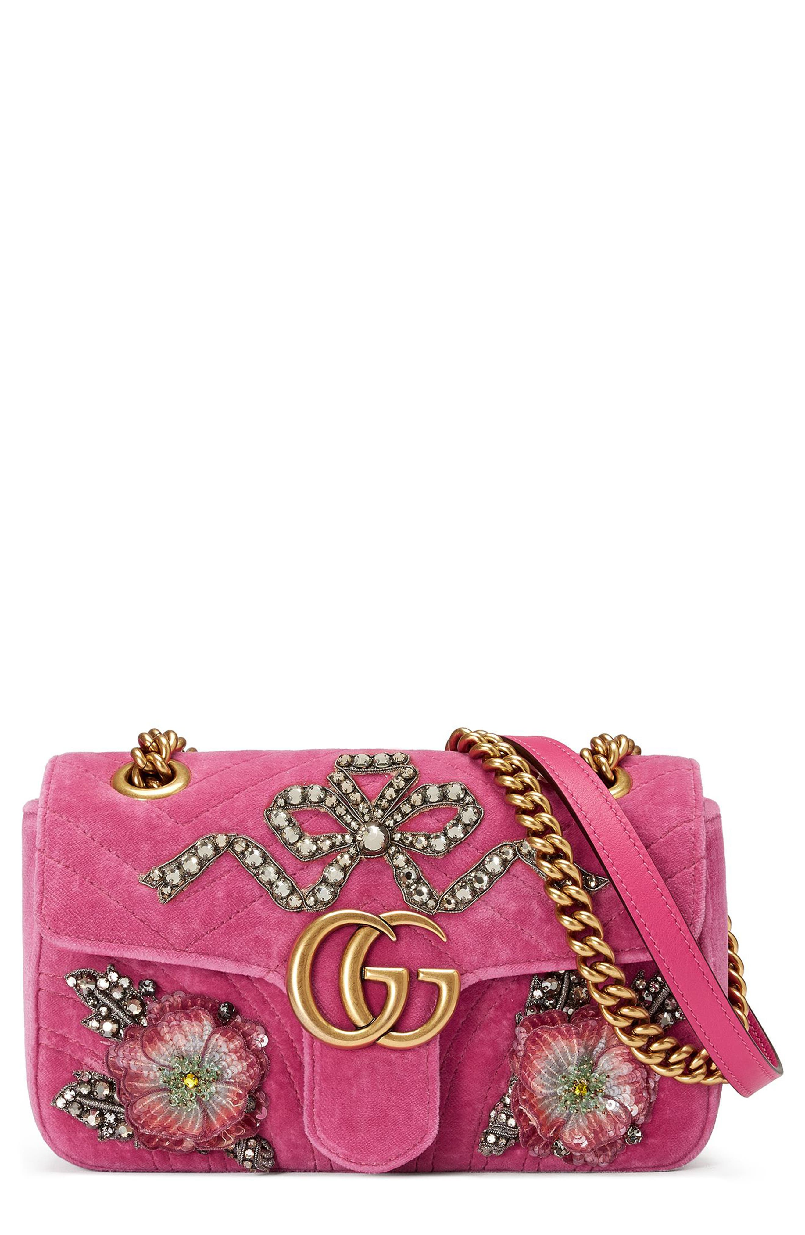Mini GG Marmont Matelassé Velvet Shoulder Bag,                         Main,                         color, Raspberry