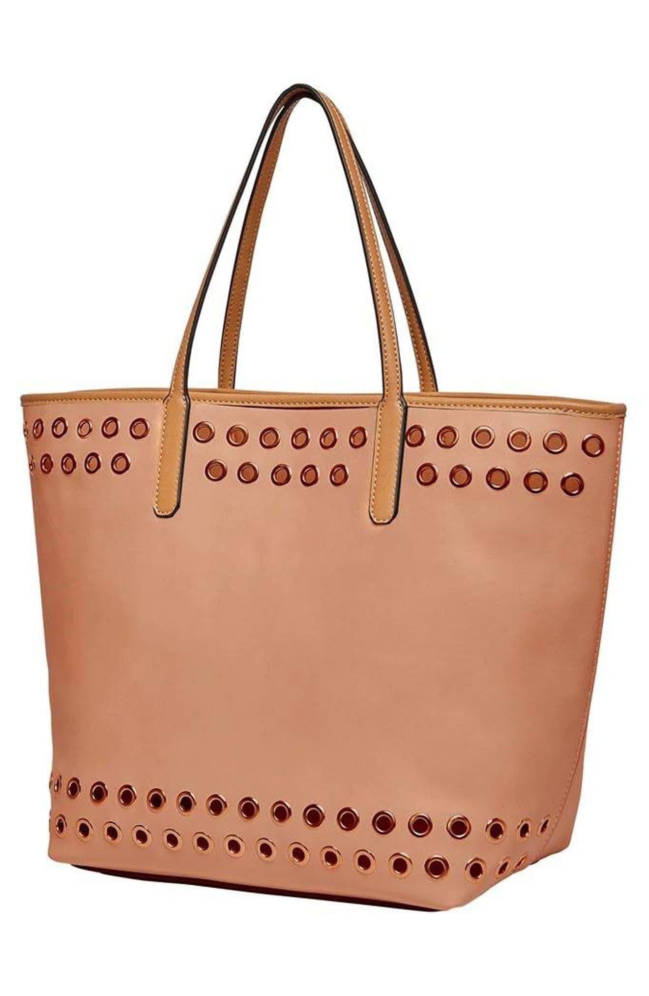 Wonderland Vegan Leather Tote & Shoulder Bag,                             Alternate thumbnail 3, color,                             Blush