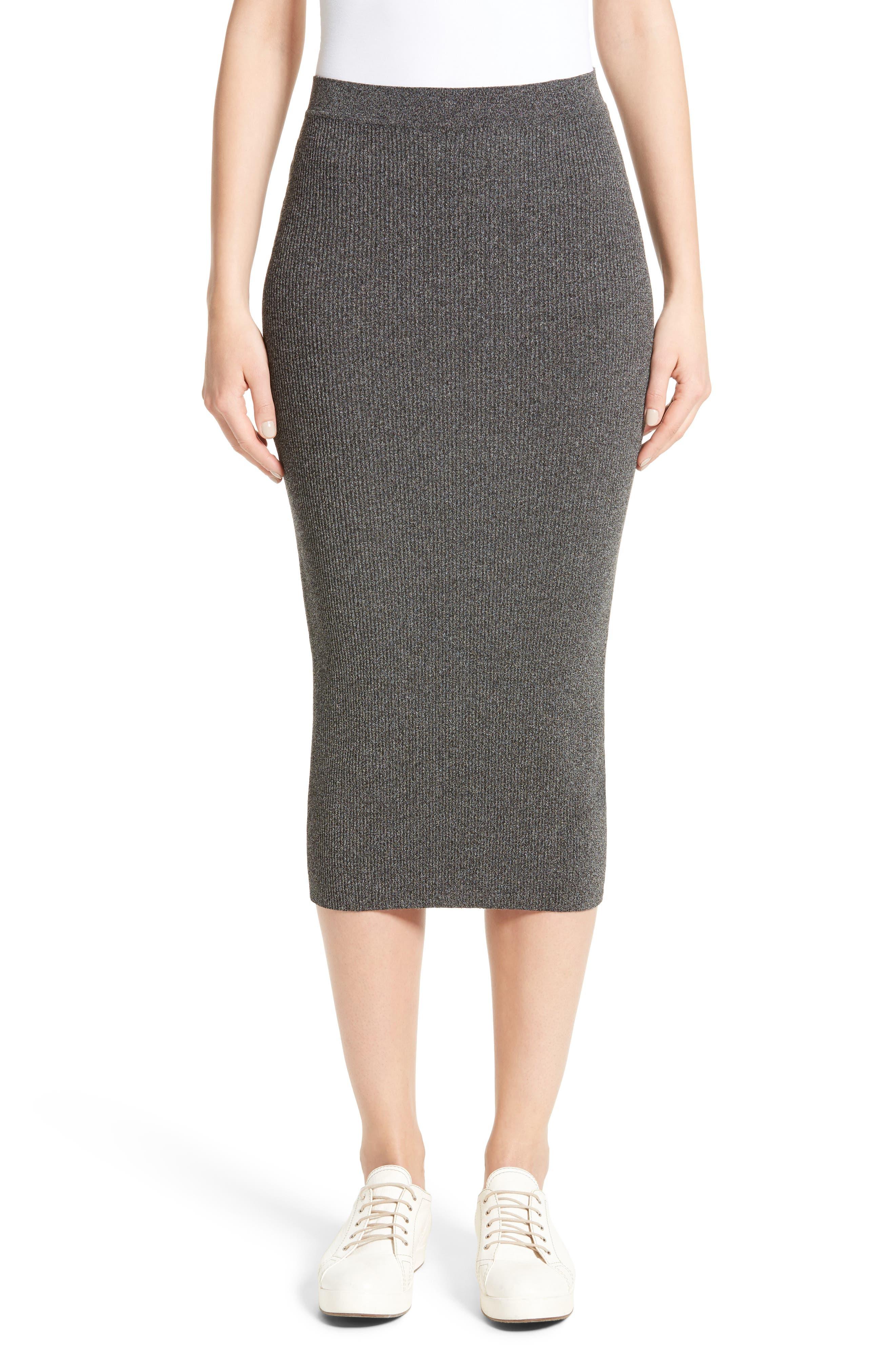 Armani Jeans Rib Knit Midi Skirt,                         Main,                         color, Grey