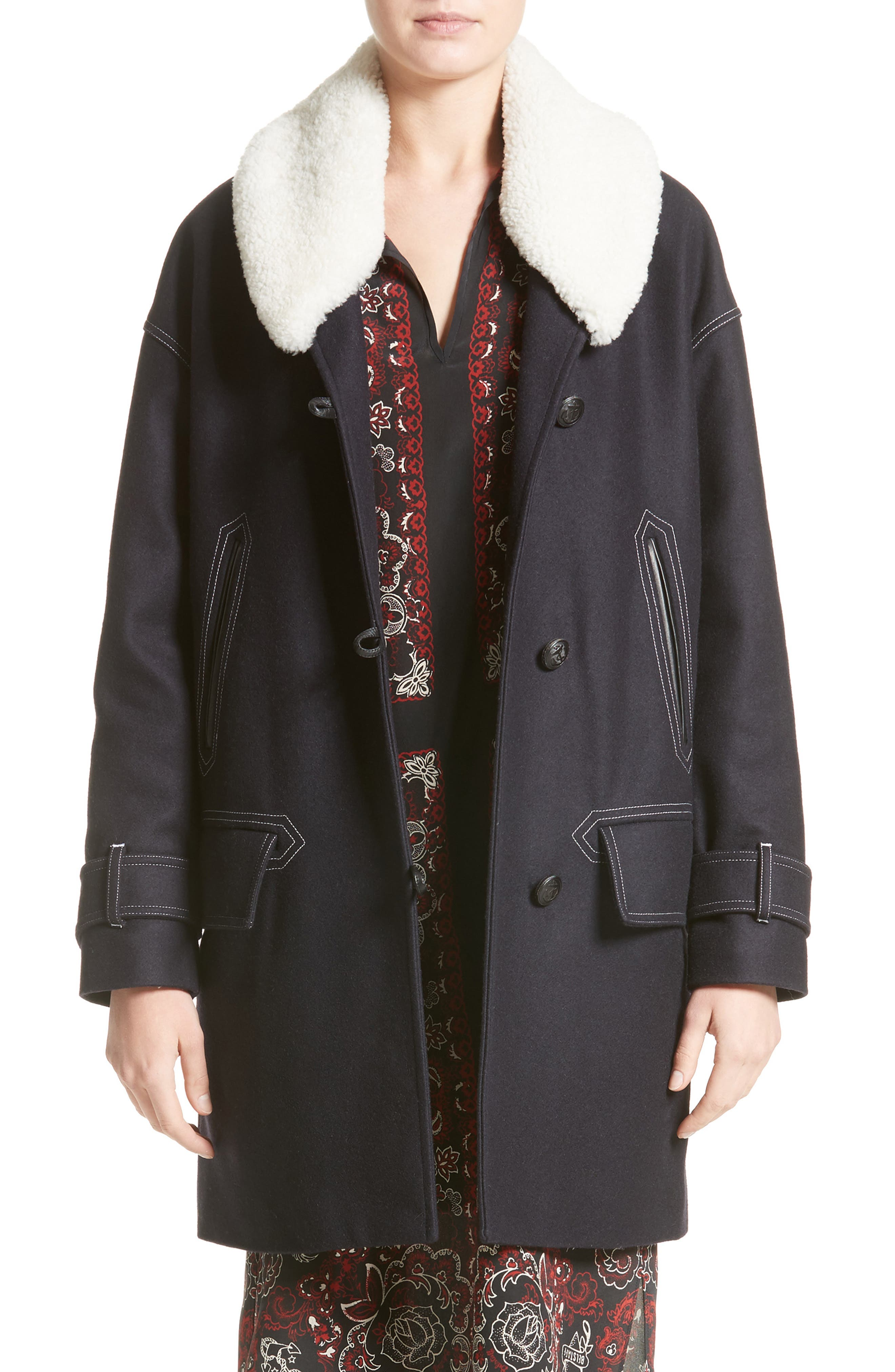 Belstaff Apsley Genuine Shearling Collar Wool Blend Coat