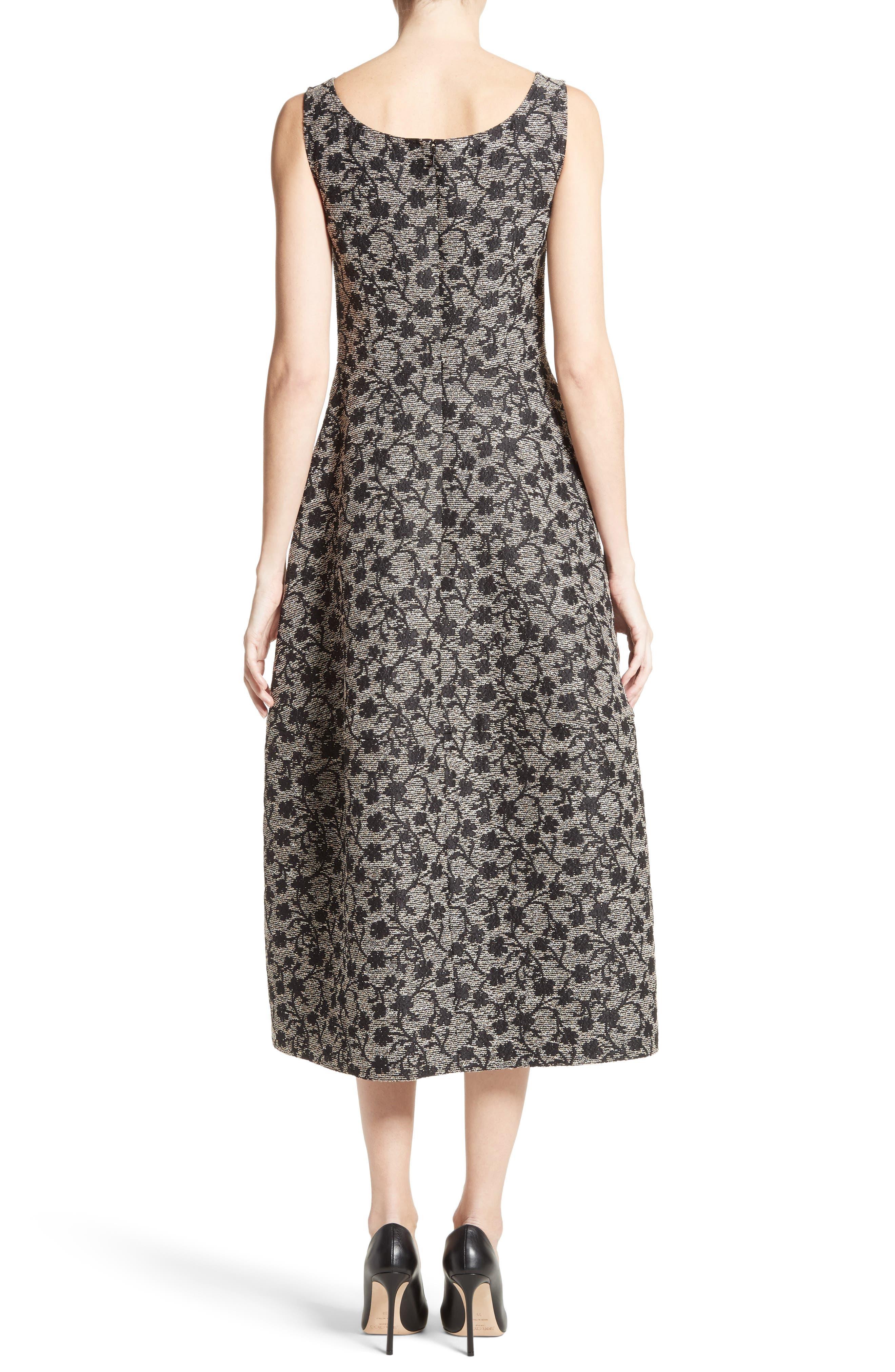 Floral Jacquard Midi Dress,                             Alternate thumbnail 2, color,                             Black/ Gold
