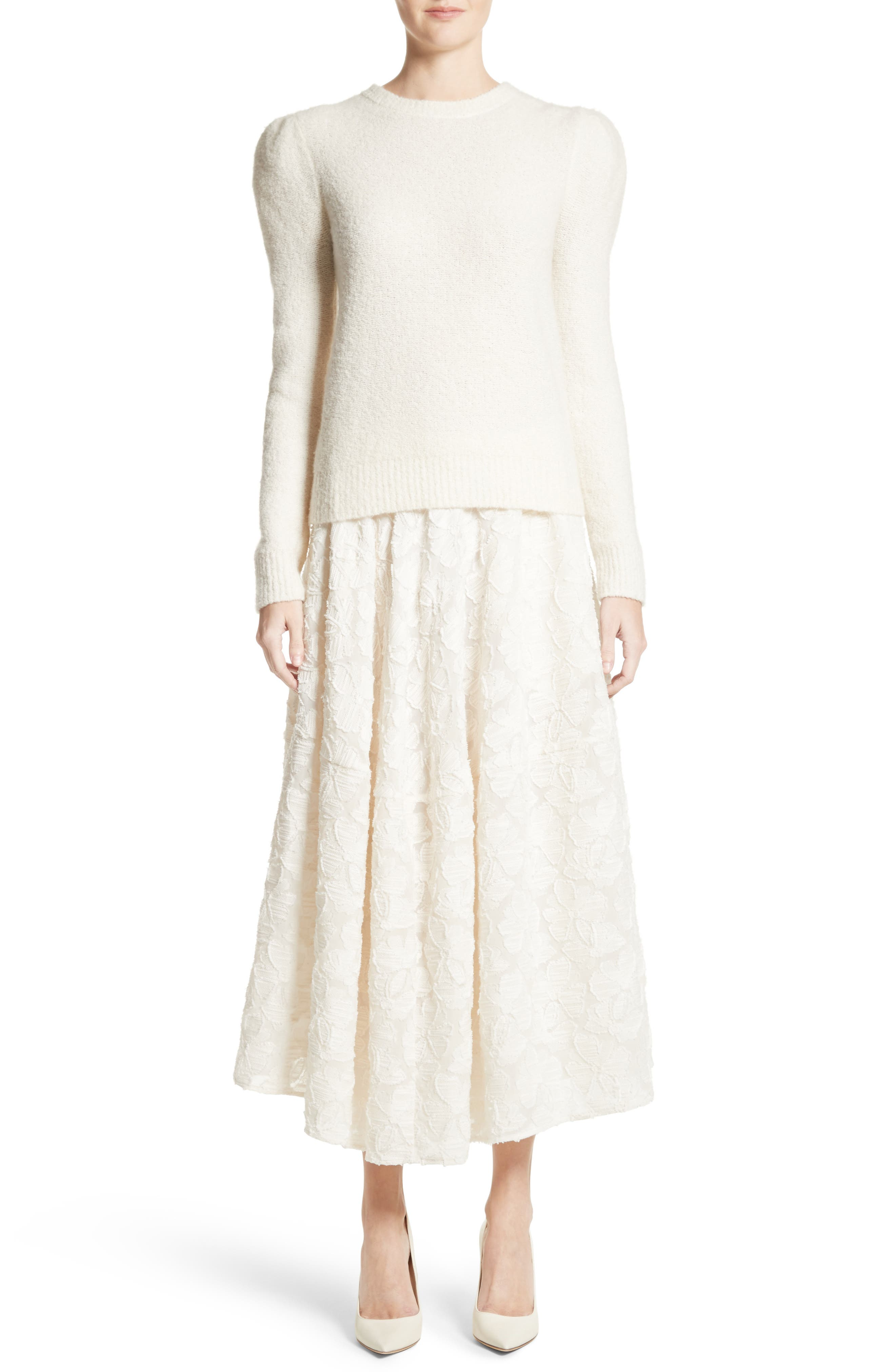 Puff Sleeve Cashmere Blend Sweater,                             Alternate thumbnail 7, color,                             Ivory