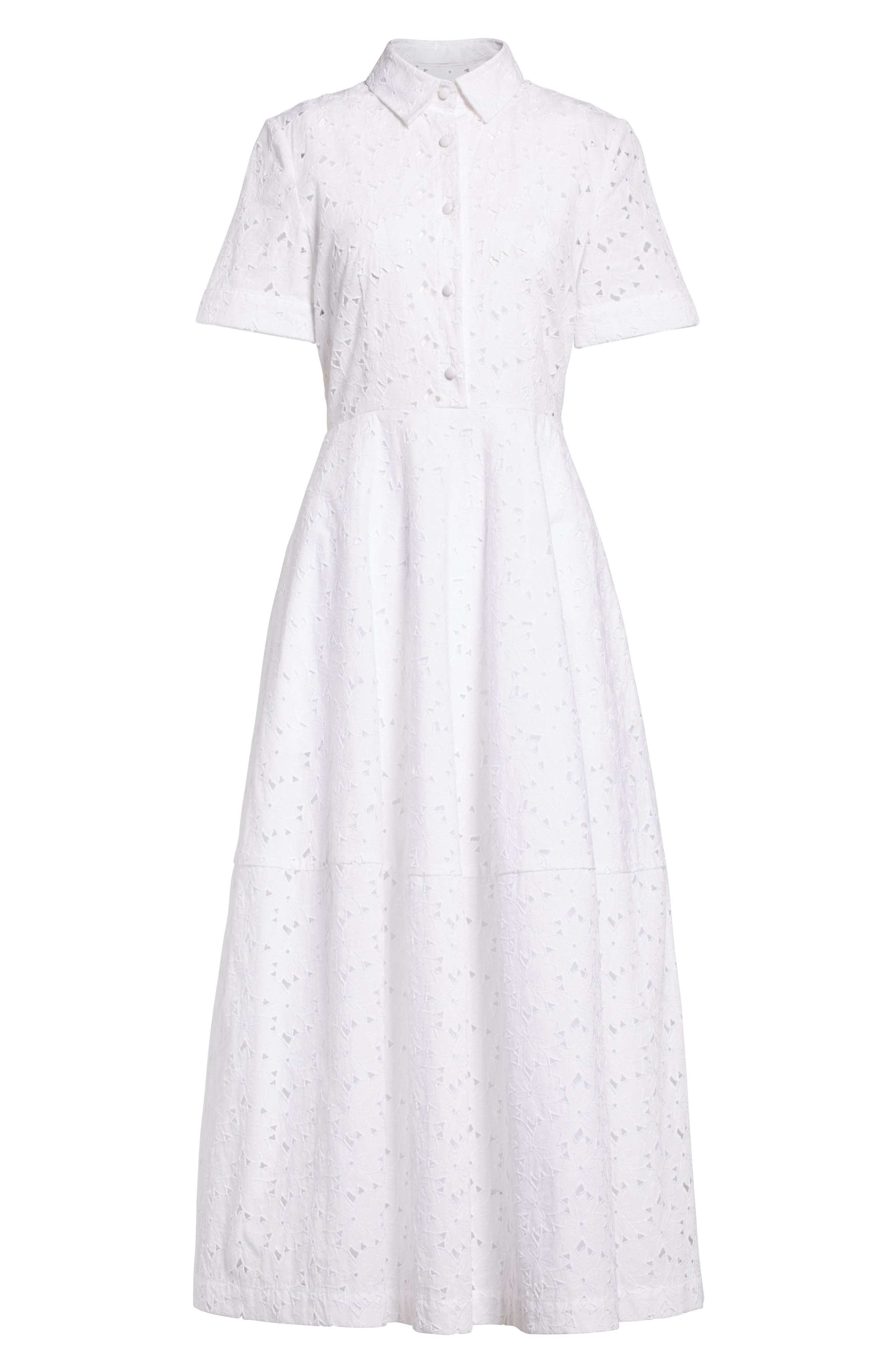 Cotton Broderie Anglaise Shirtdress,                             Alternate thumbnail 4, color,                             White