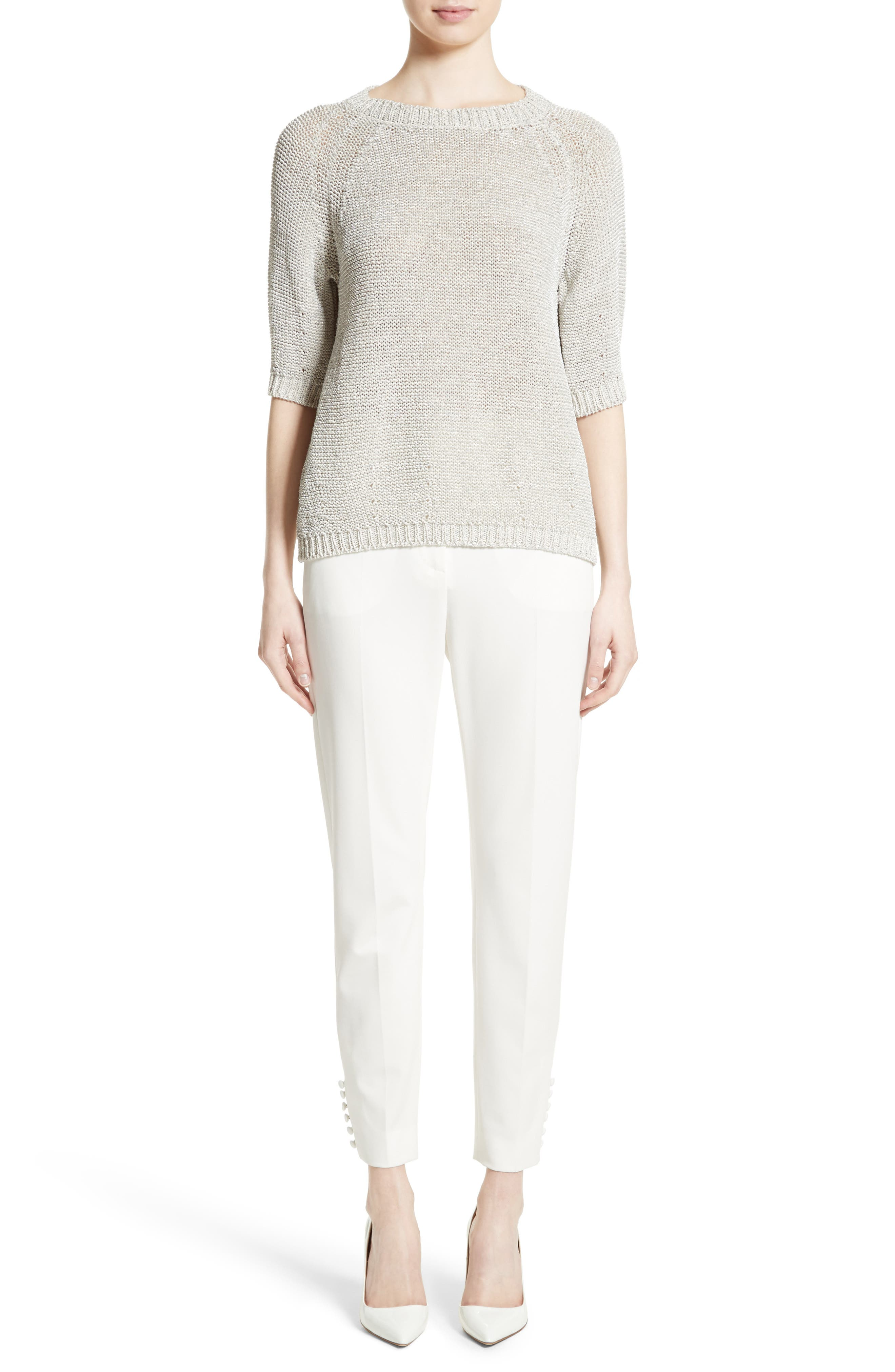 Cotton Blend Sweater,                             Alternate thumbnail 7, color,                             White