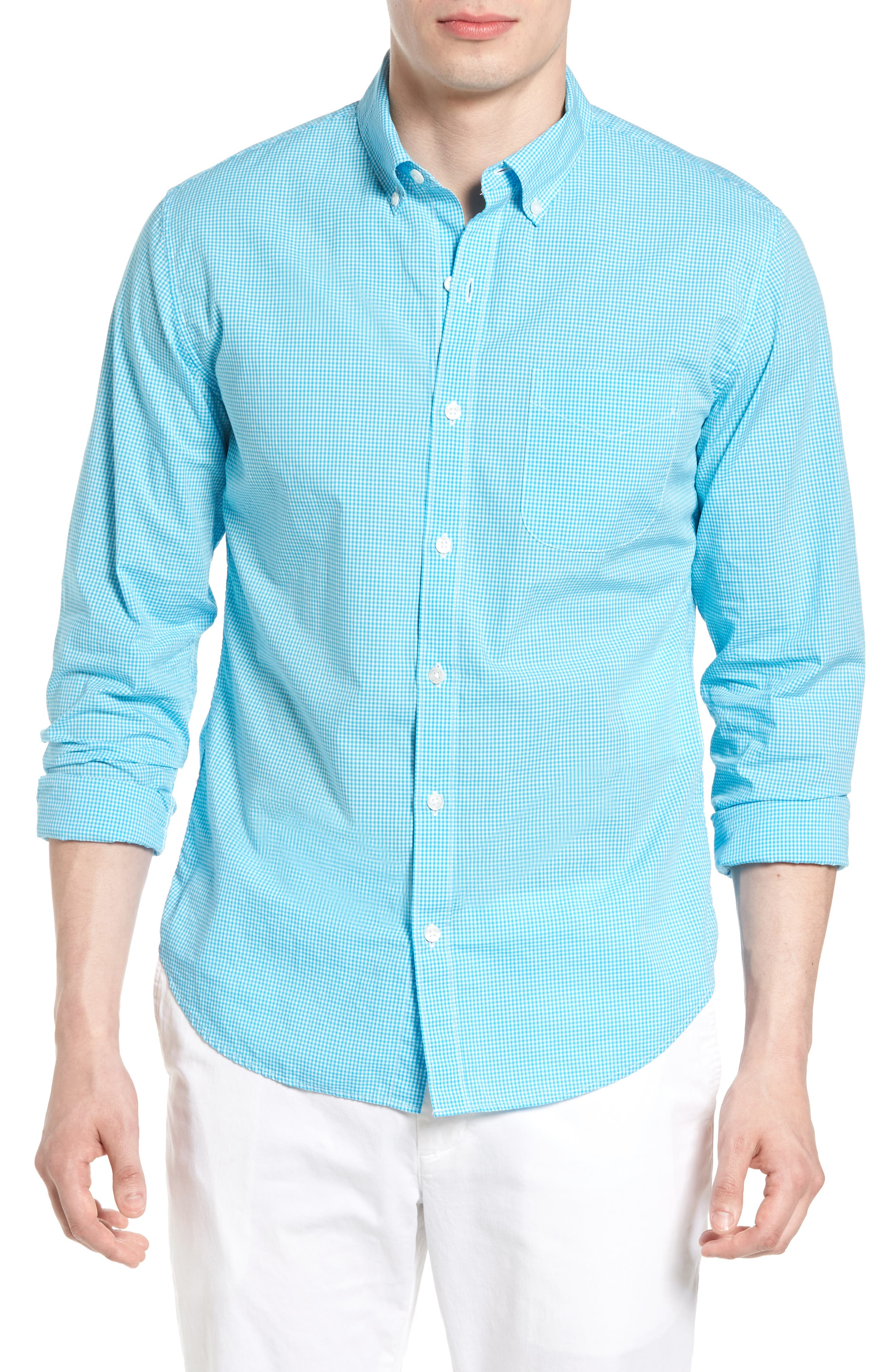 Summerweight Slim Fit Sport Shirt,                             Main thumbnail 1, color,                             Bonid Gingham Blue