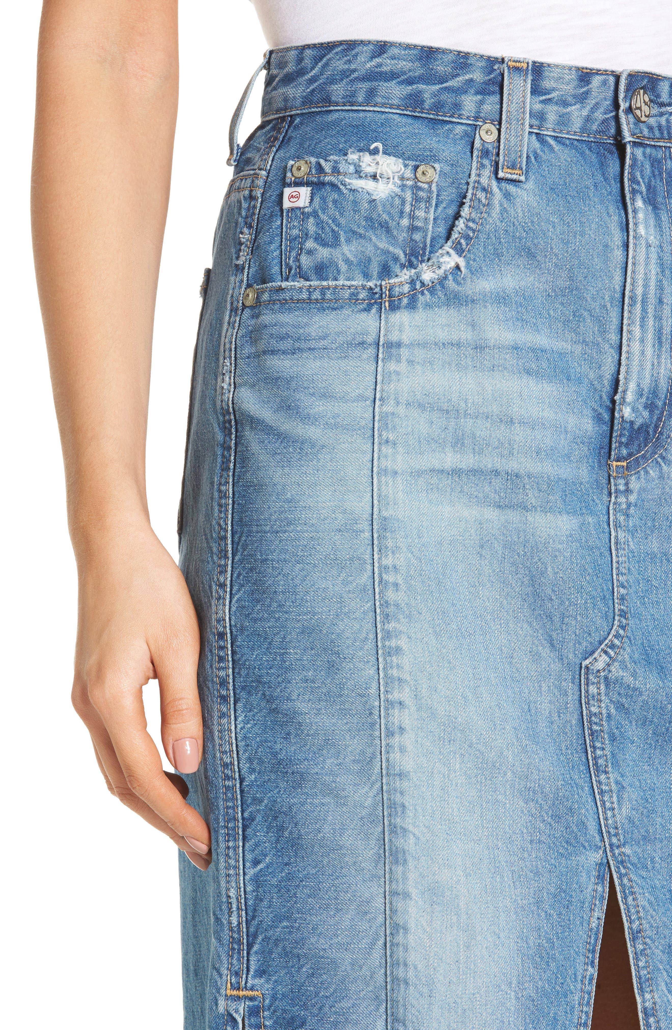 Alternate Image 5  - AG The Emery High Waist Denim Skirt (18 Years Blue Fawn)