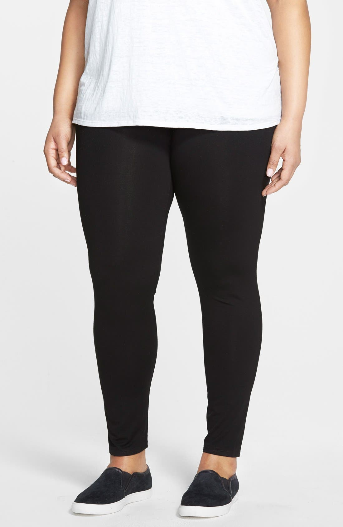 Alternate Image 1 Selected - Eileen Fisher Ankle Leggings (Plus Size)