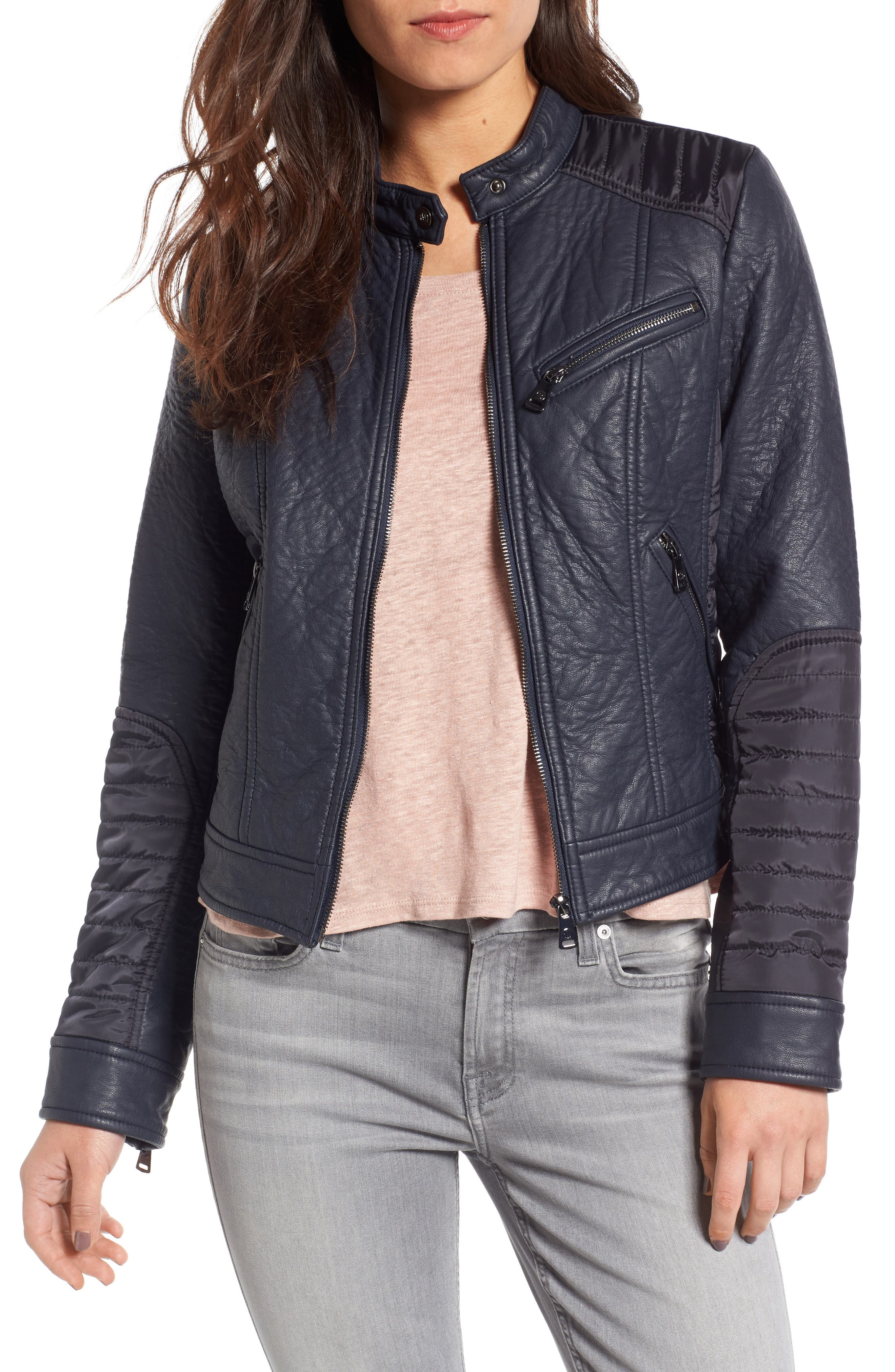 Mixed Media Faux Leather Jacket,                         Main,                         color, Navy