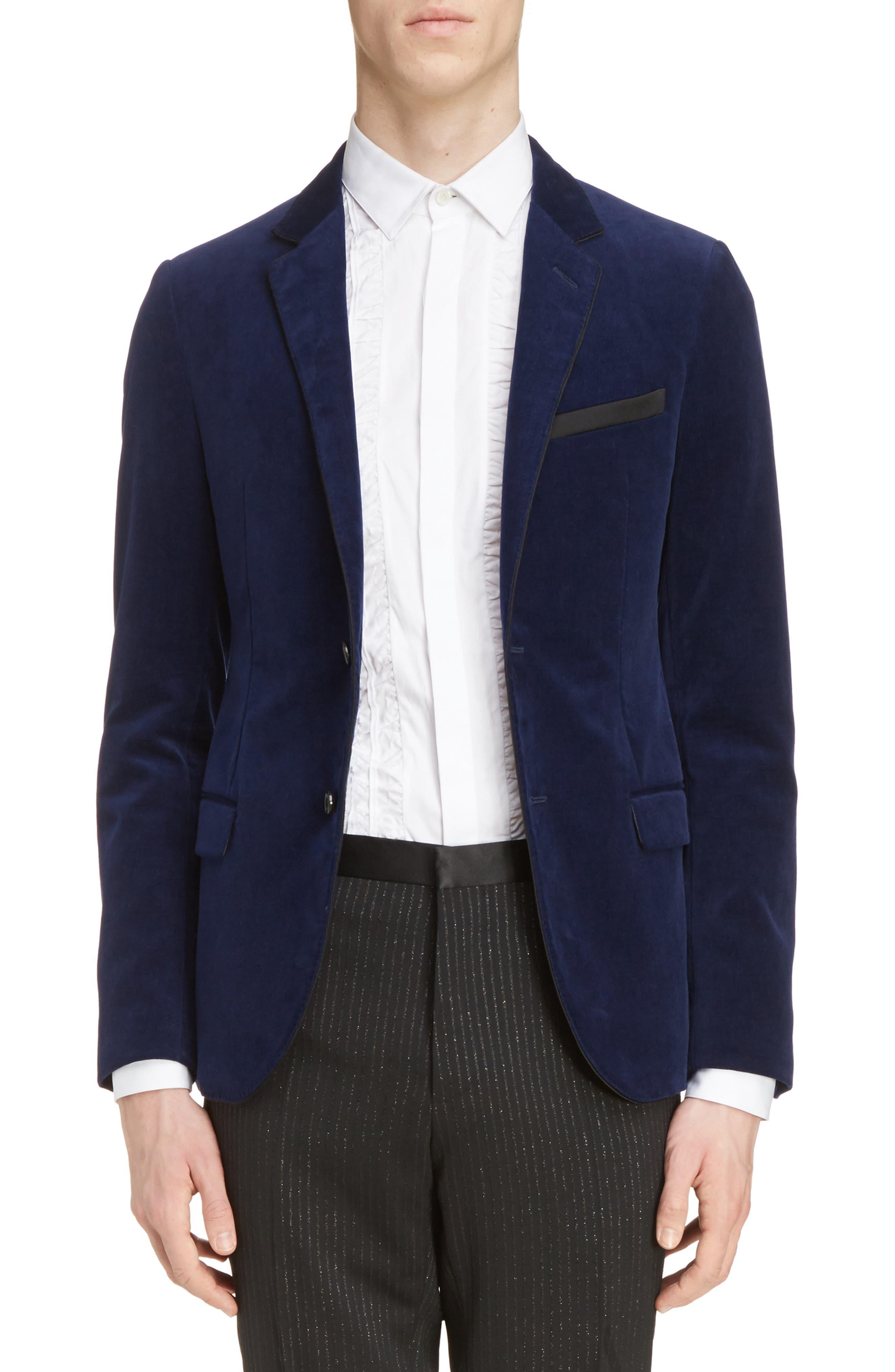 Extra Slim Fit Velvet Jacket,                         Main,                         color, Blue