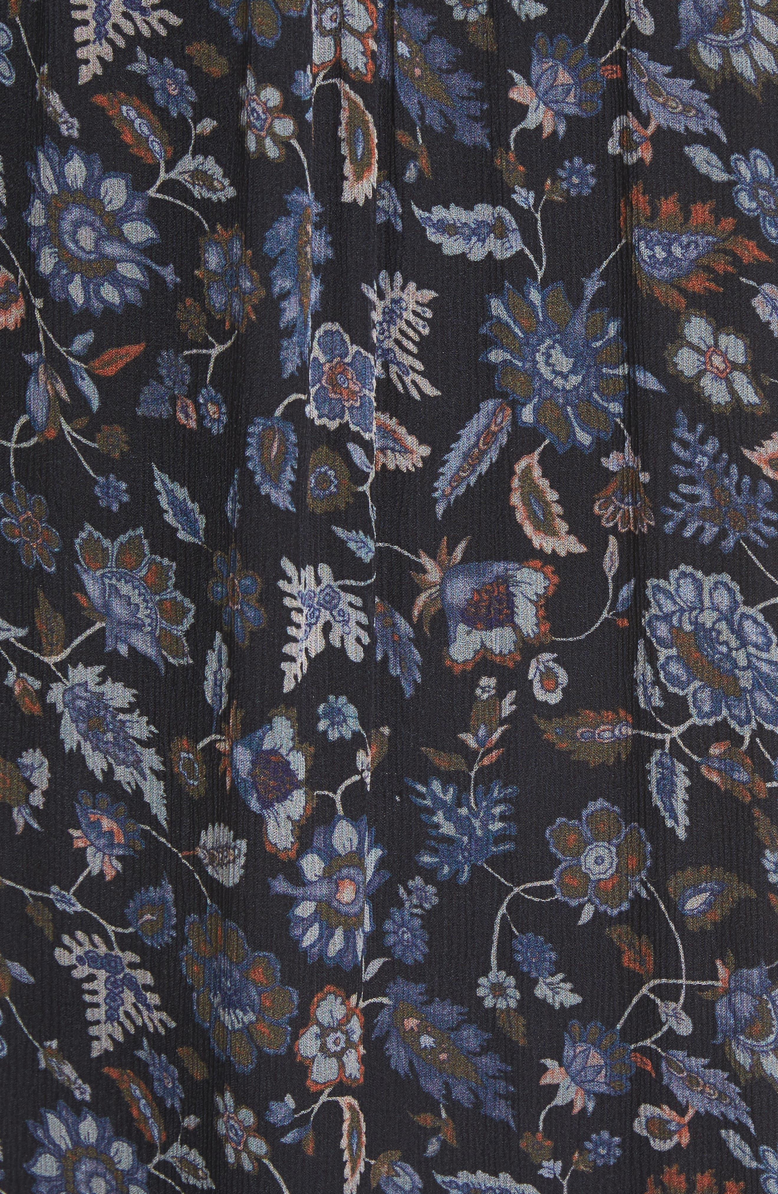 Tahoma B Print Silk Dress,                             Alternate thumbnail 5, color,                             Coralwood