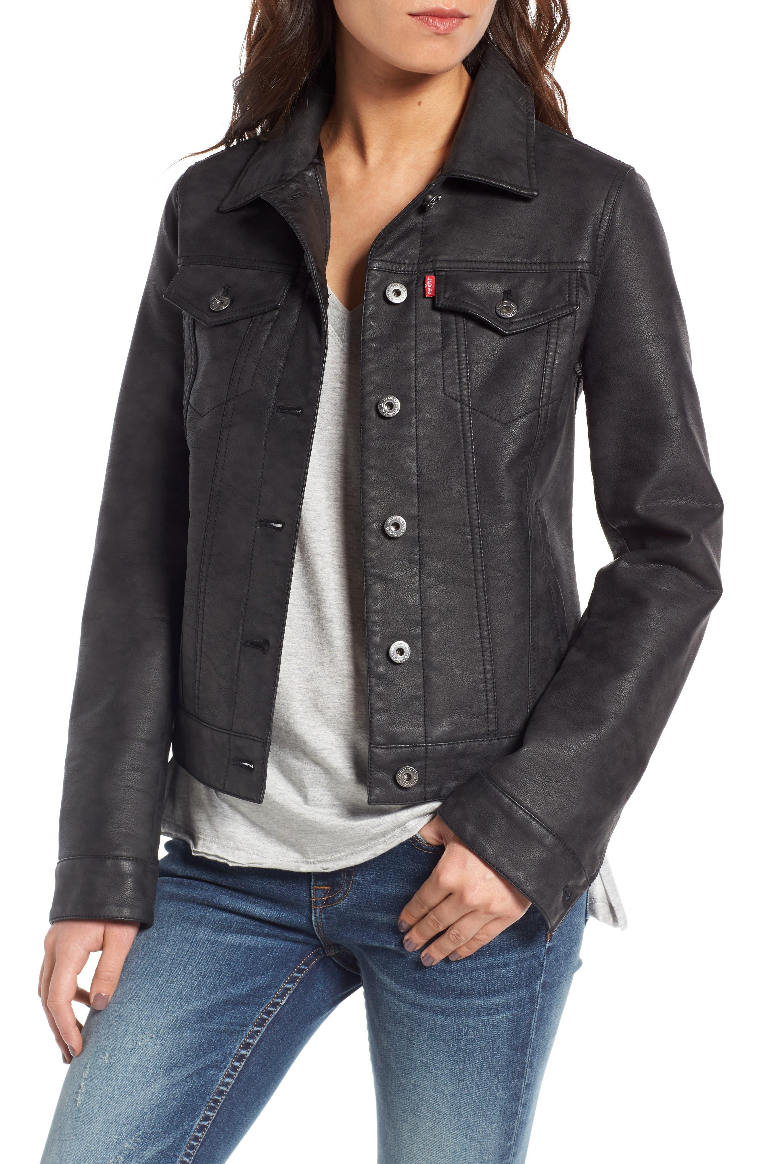 Faux Leather Trucker Jacket,                         Main,                         color, Black
