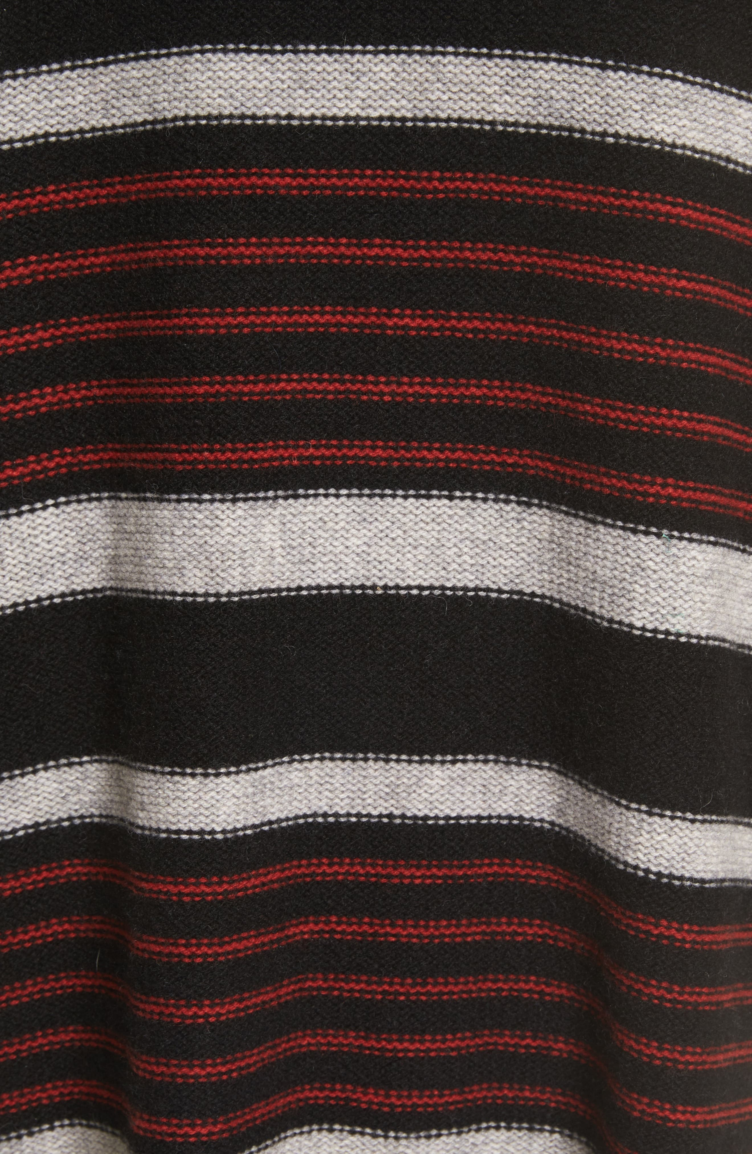 Gabrina Stripe Open Front Hoodie,                             Alternate thumbnail 5, color,                             Caviar / Grey / Tandoori Red