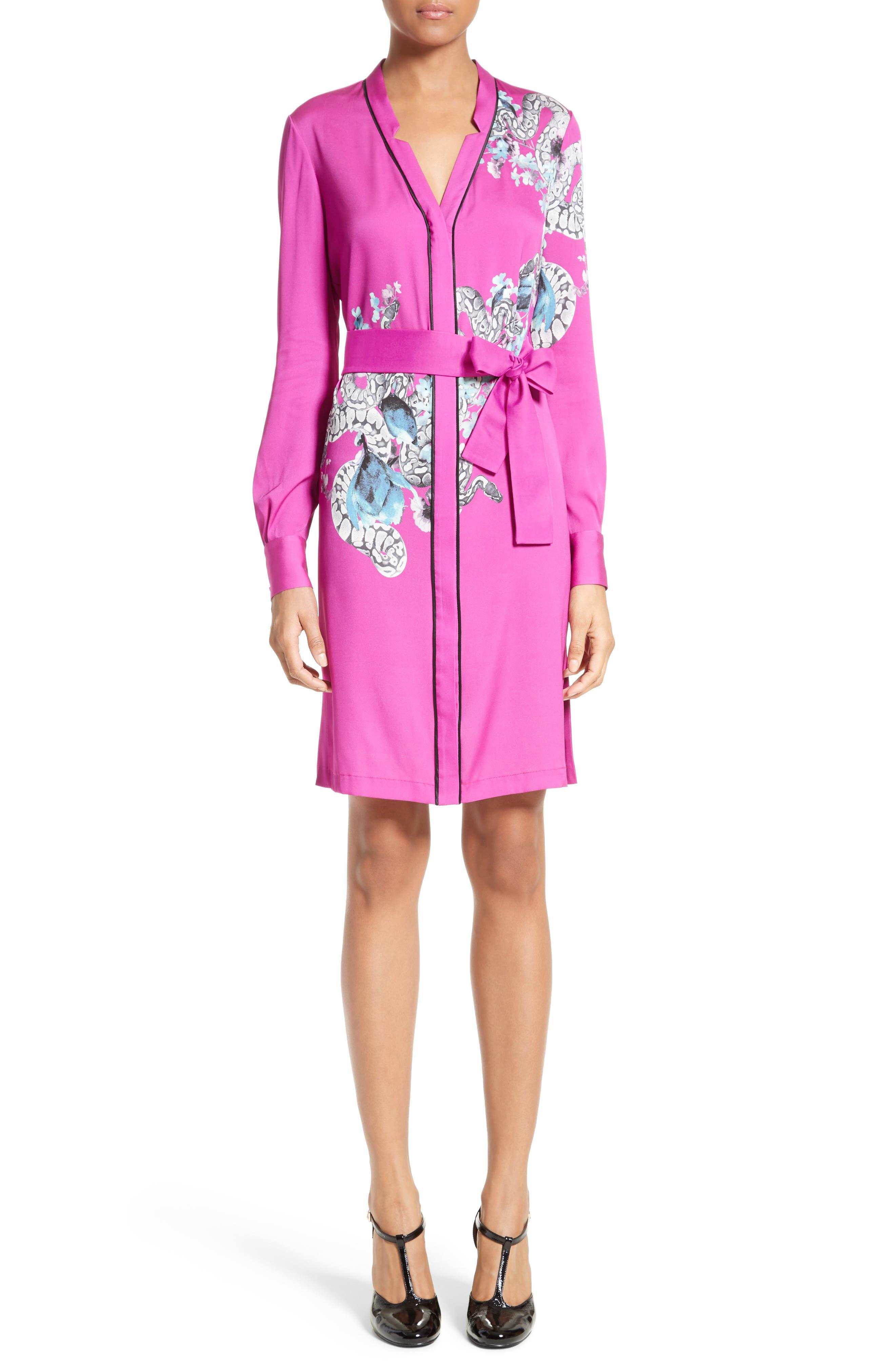 Floral Pajama Dress,                         Main,                         color, Magenta