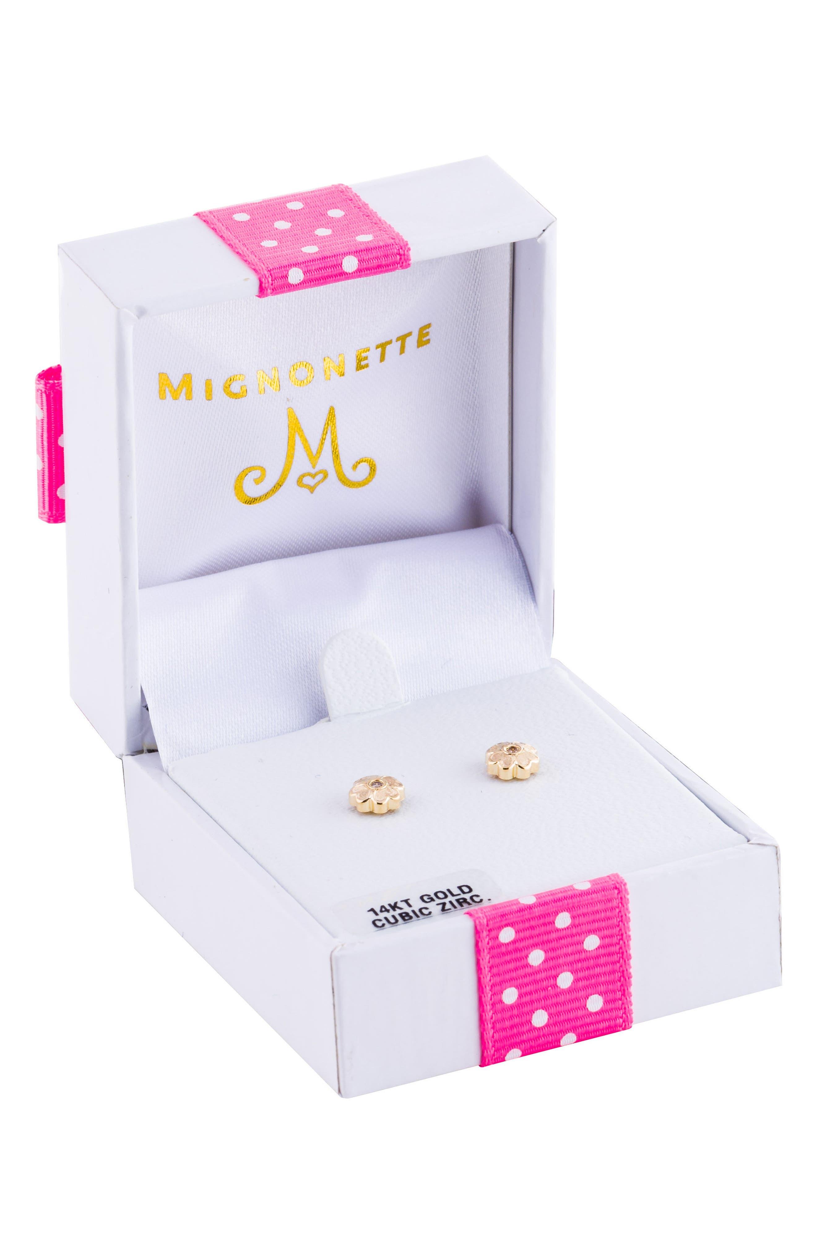 Alternate Image 3  - Mignonette 14k Gold Flower Earrings (Girls)