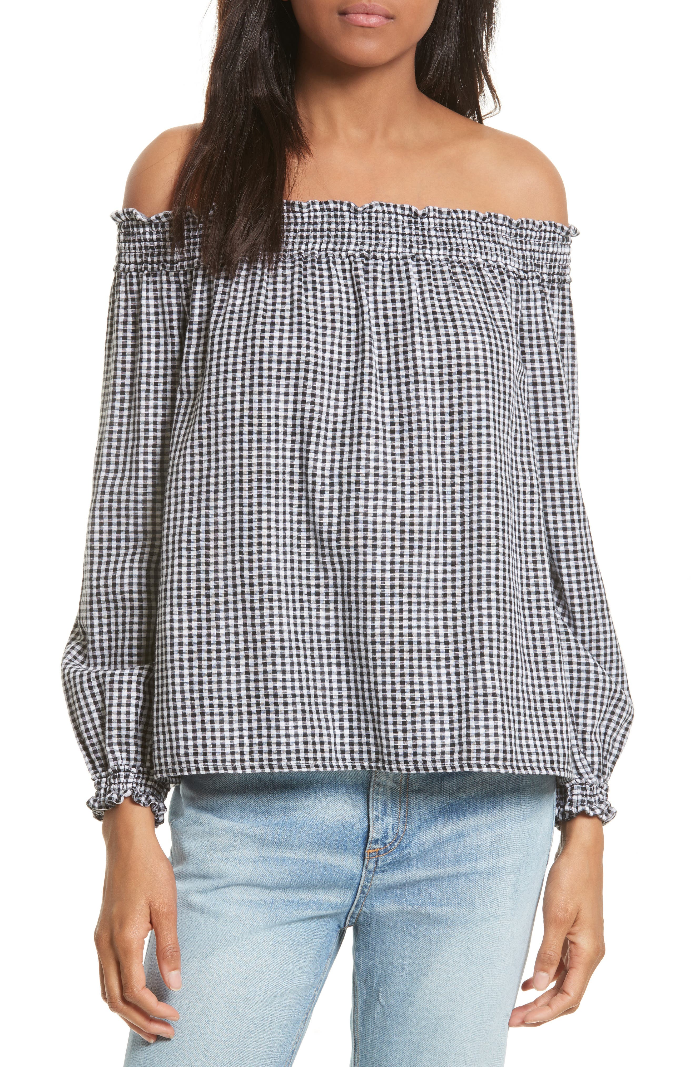 Drew Gingham Off the Shoulder Top,                             Main thumbnail 1, color,                             Black/ White