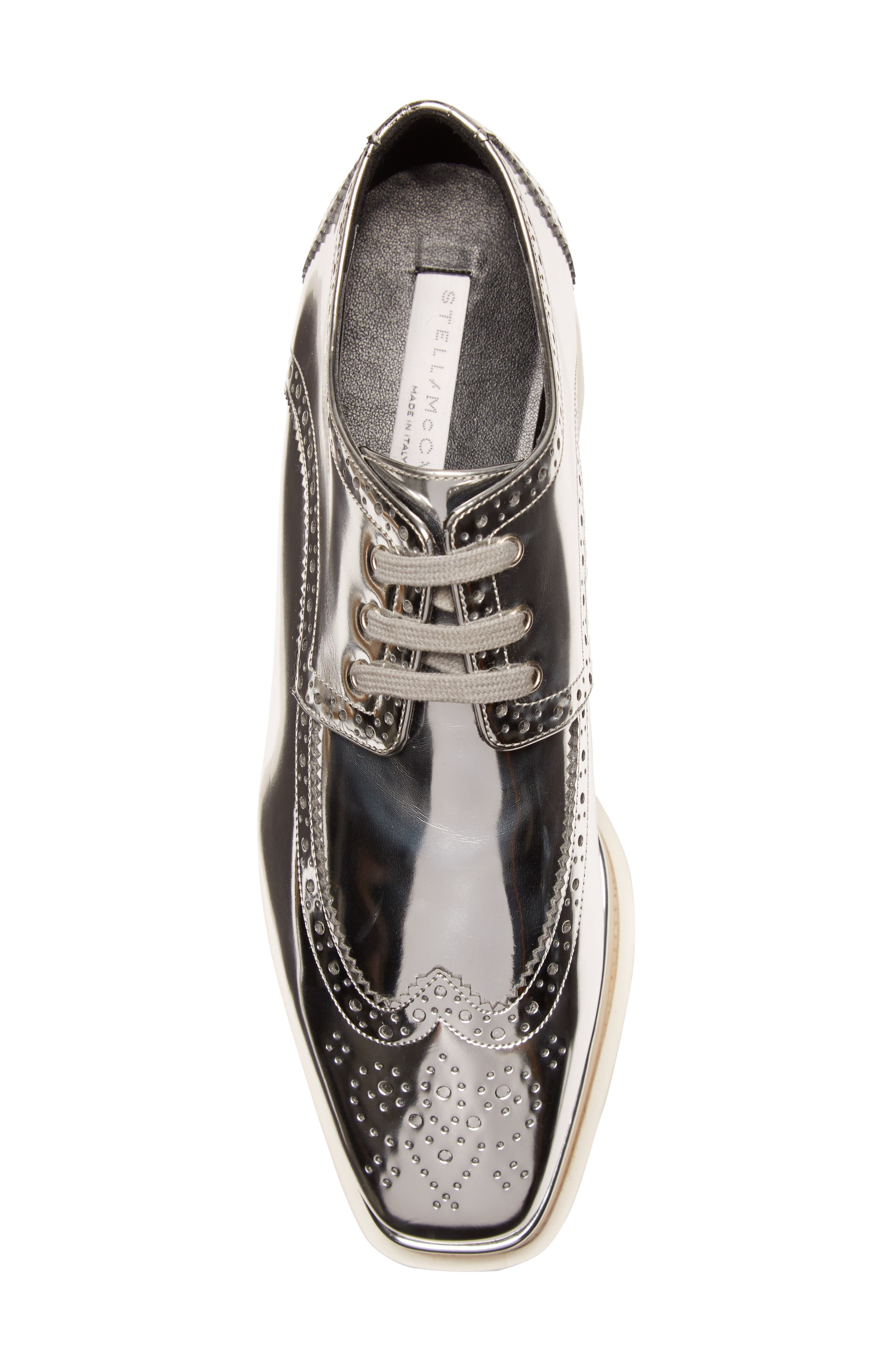 Elyse Brogue Platform Loafer,                             Alternate thumbnail 5, color,                             Metallic Silver