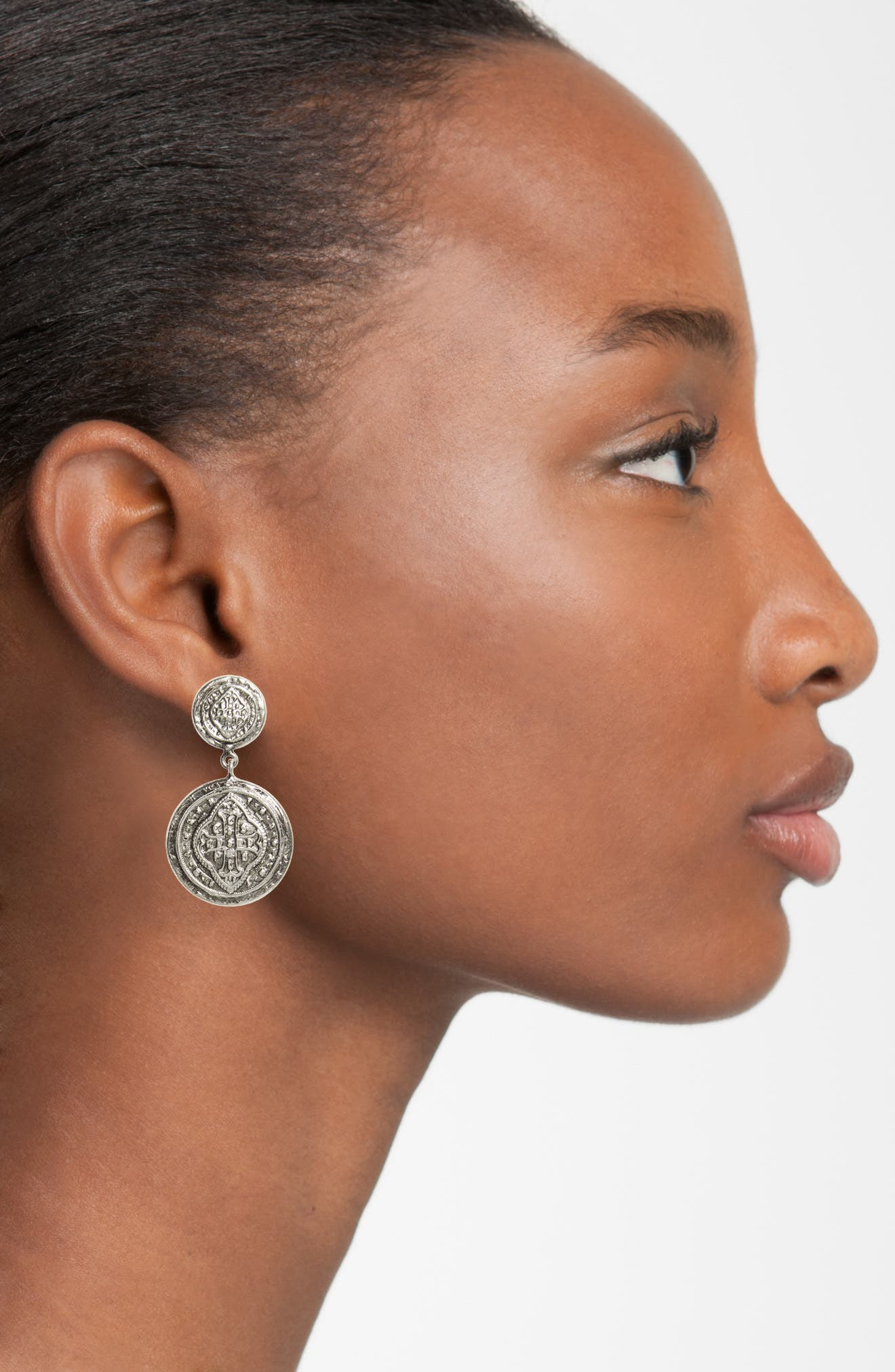 Cathedral Drop Earrings,                             Alternate thumbnail 2, color,                             Silver