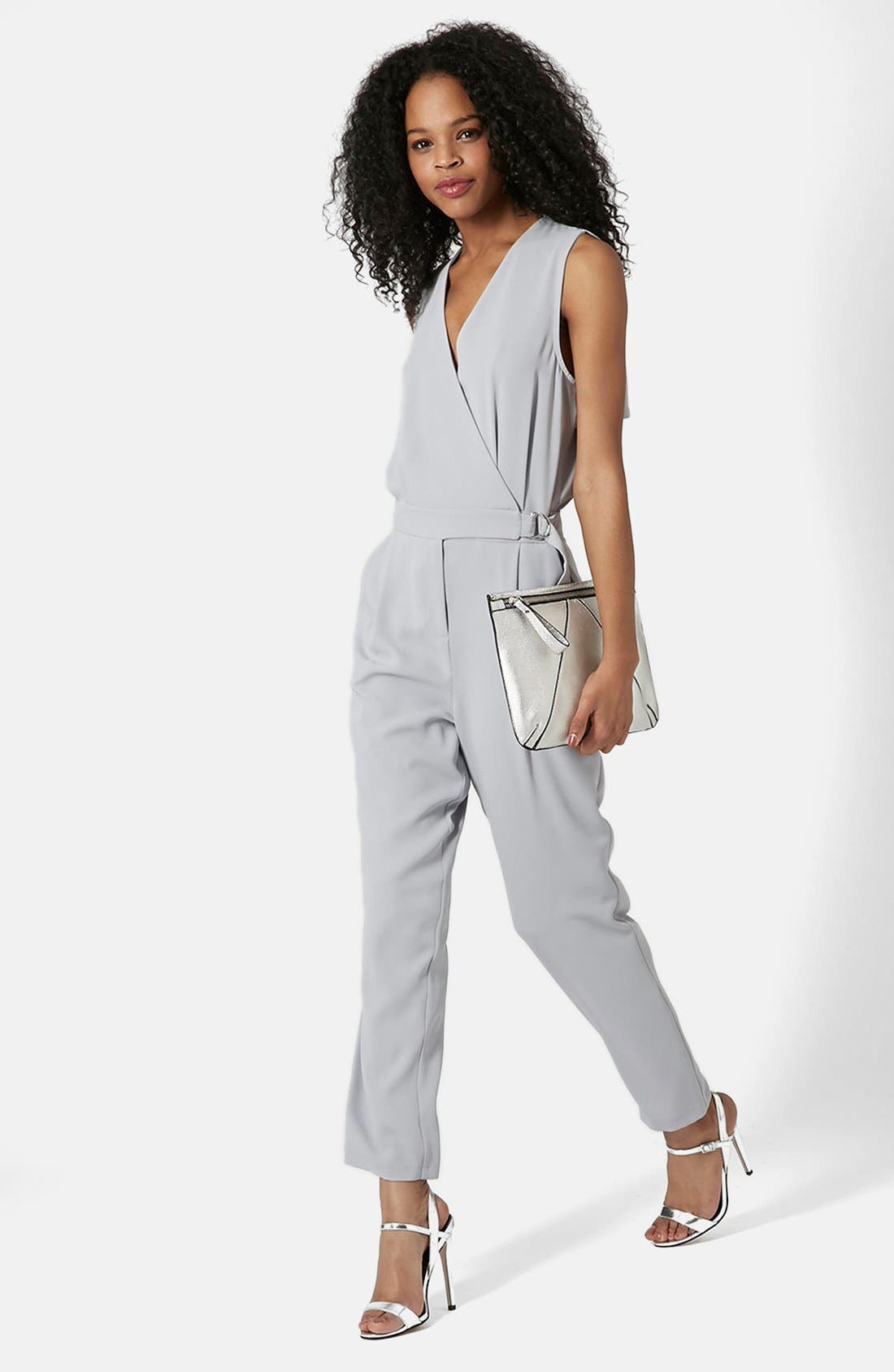 Main Image - Topshop Sleeveless Wrap Front Jumpsuit