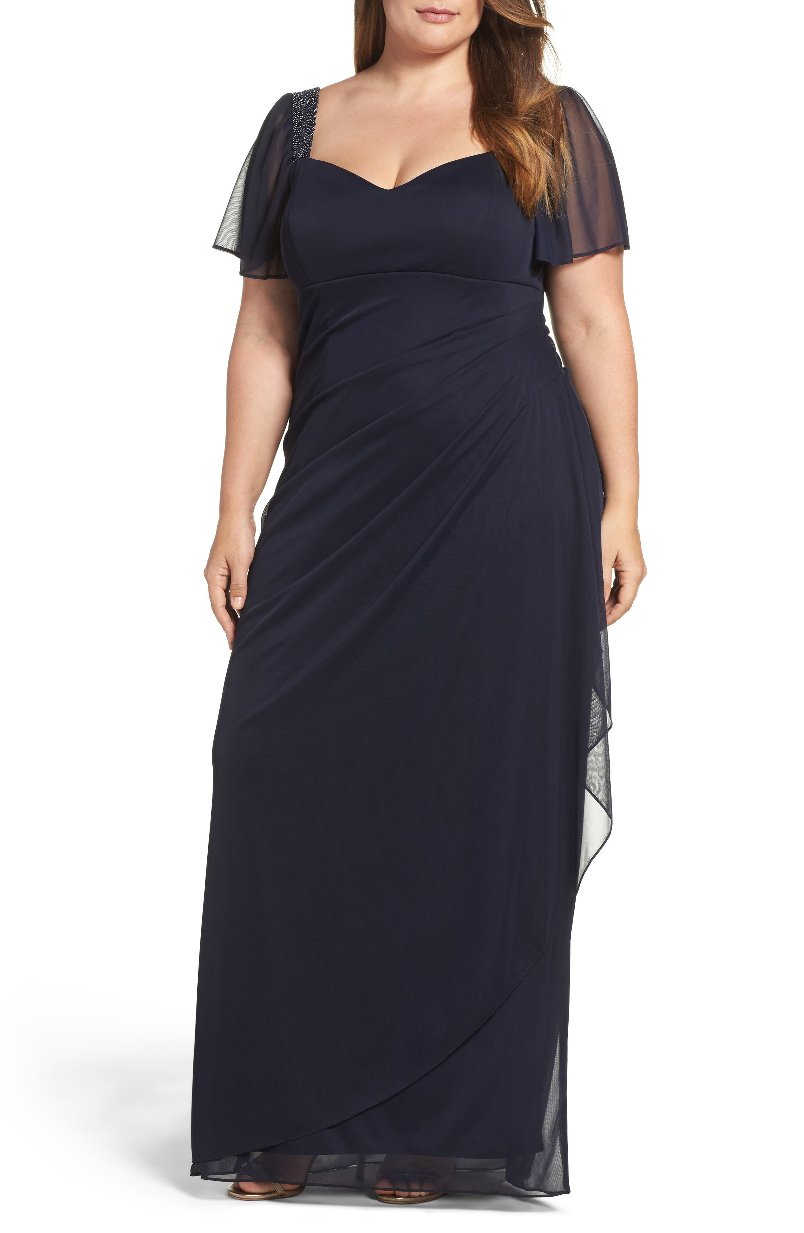 Main Image - Xscape Embellished Side Pleat Gown (Plus Size)