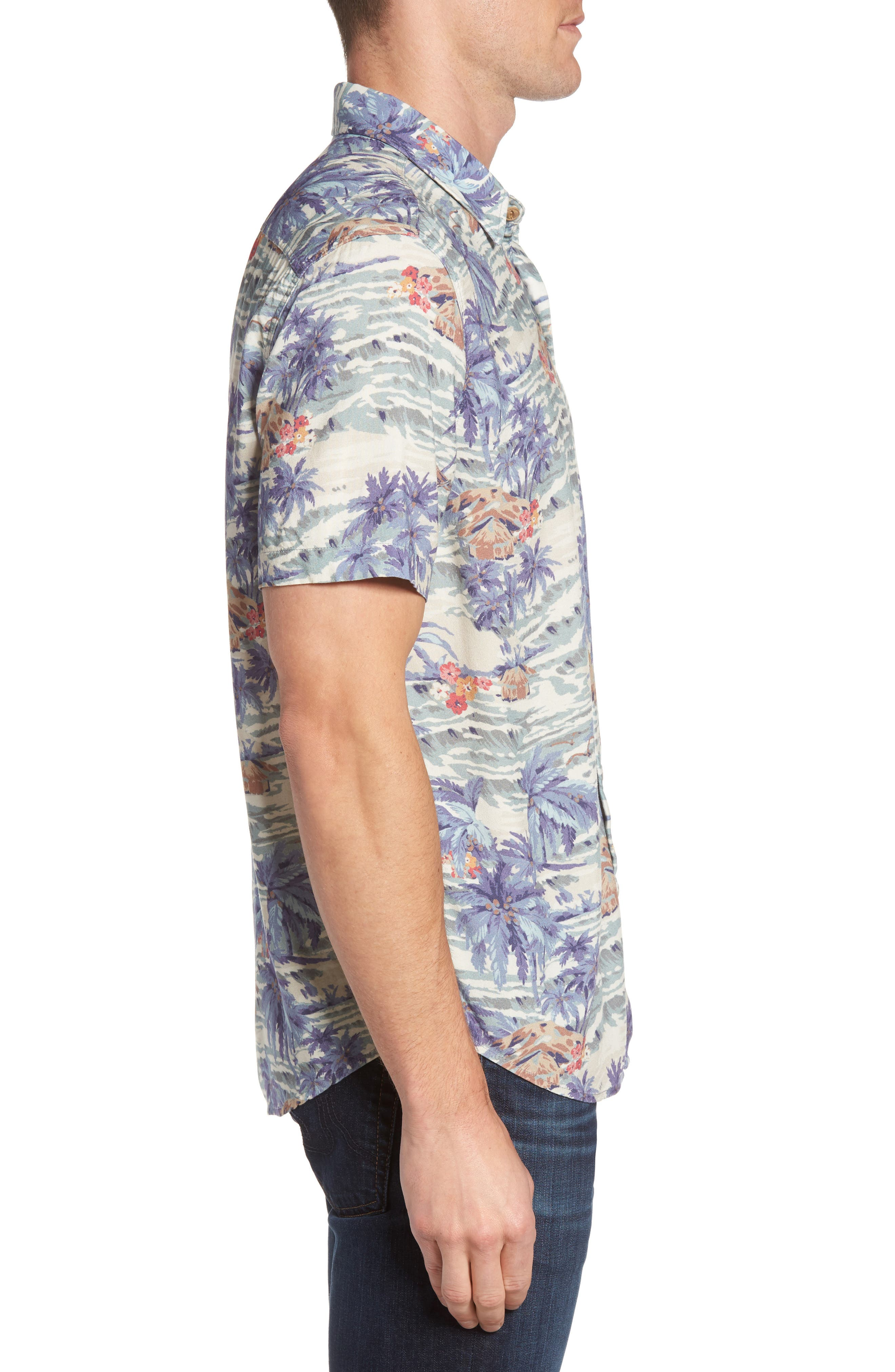 Hawaiian Print Rayon Shirt,                             Alternate thumbnail 3, color,                             Tahitian Dreams