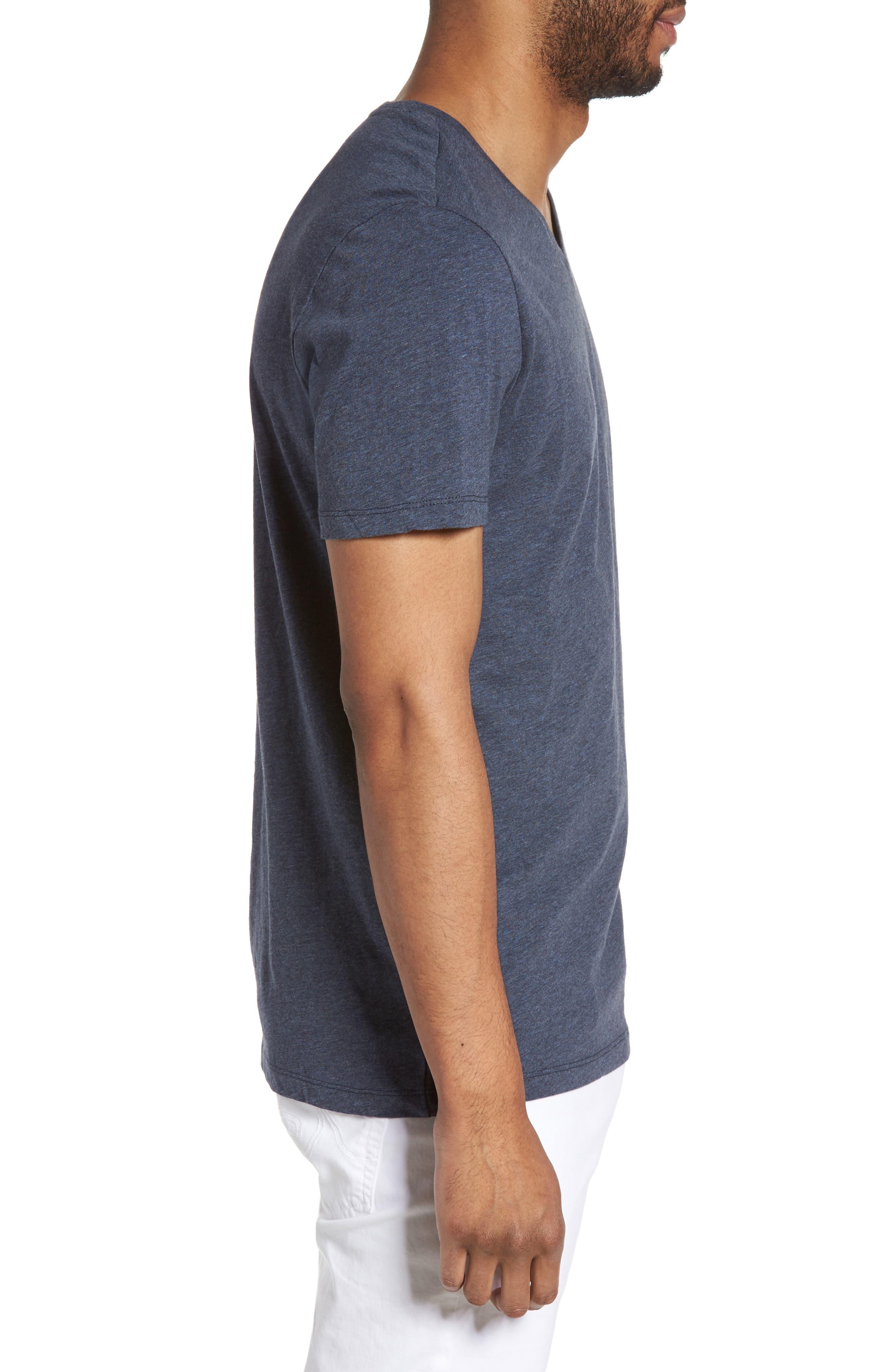 Slim V-Neck T-Shirt,                             Alternate thumbnail 3, color,                             Heather Navy