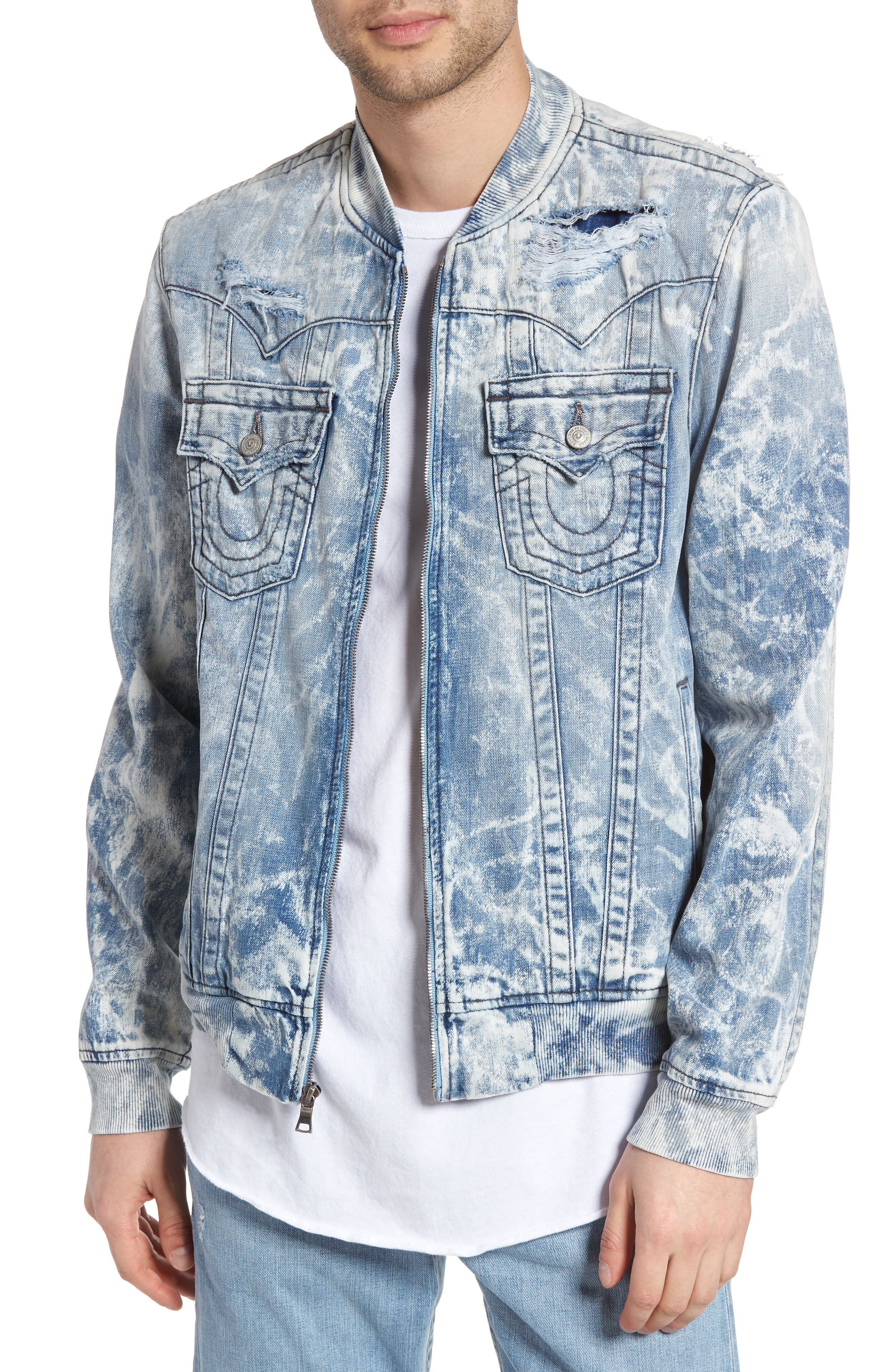 True Religion Brand Jeans Jimmy Bleached Denim Bomber Jacket