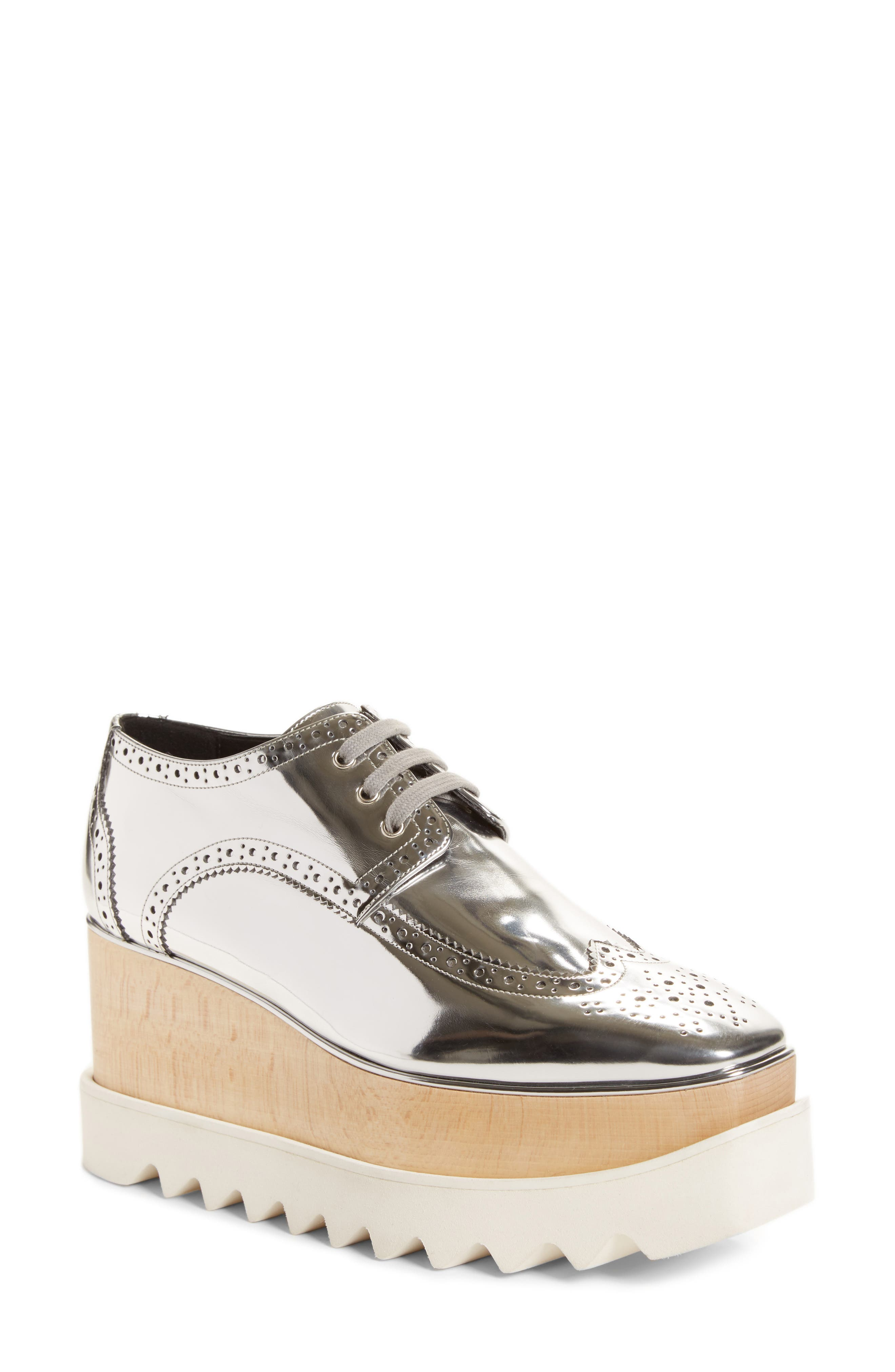 Elyse Brogue Platform Loafer,                             Main thumbnail 1, color,                             Metallic Silver