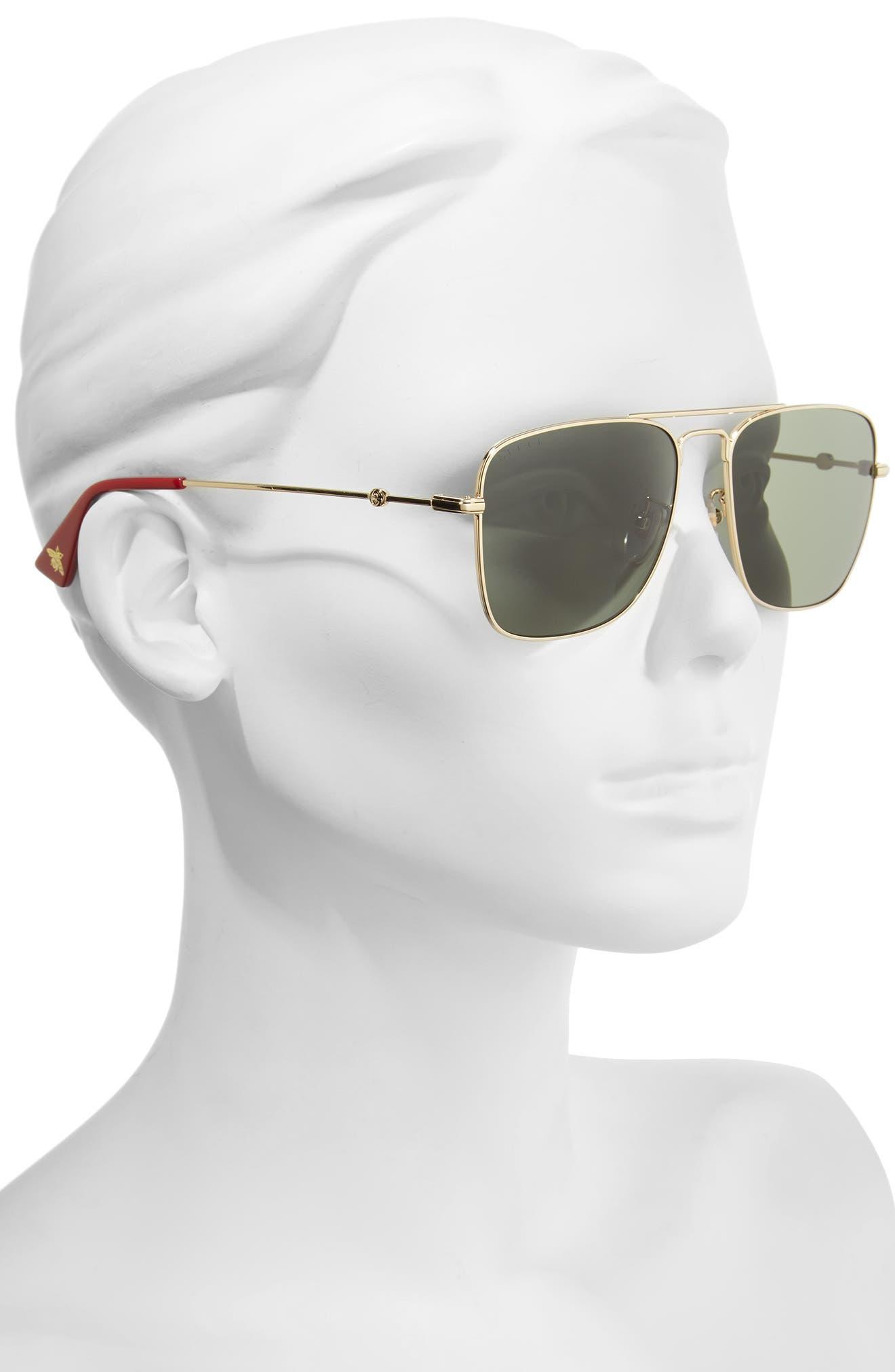 Caravan 55mm Square Aviator Sunglasses,                             Alternate thumbnail 2, color,                             Gold/ Green
