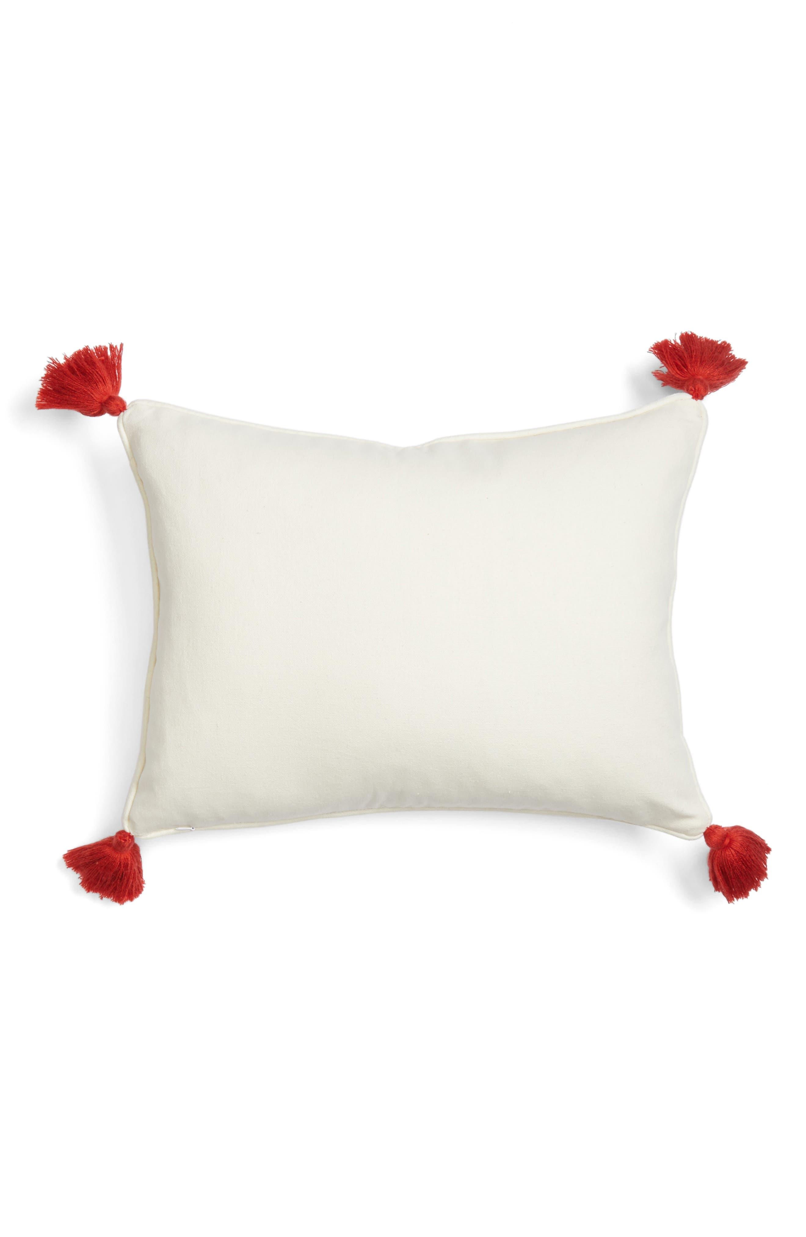 Piper Tassel Pillow,                             Alternate thumbnail 2, color,                             Red/ Multi