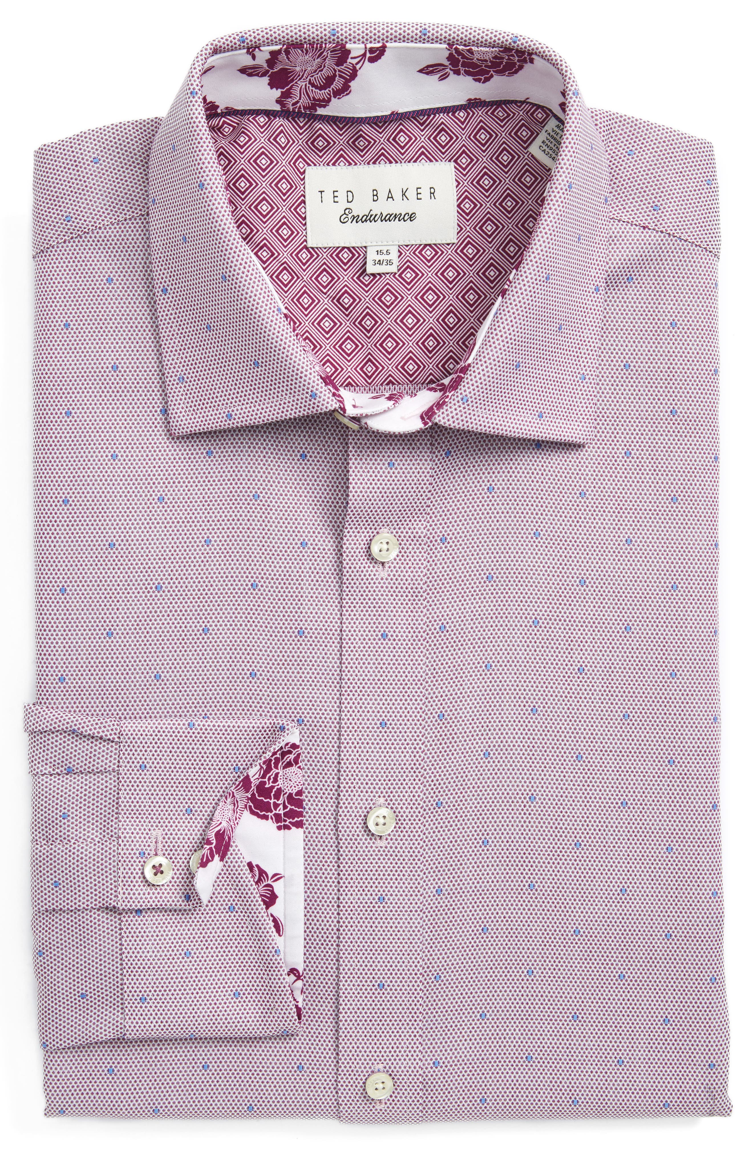 Ted Baker London Trim Fit Dot Dress Shirt