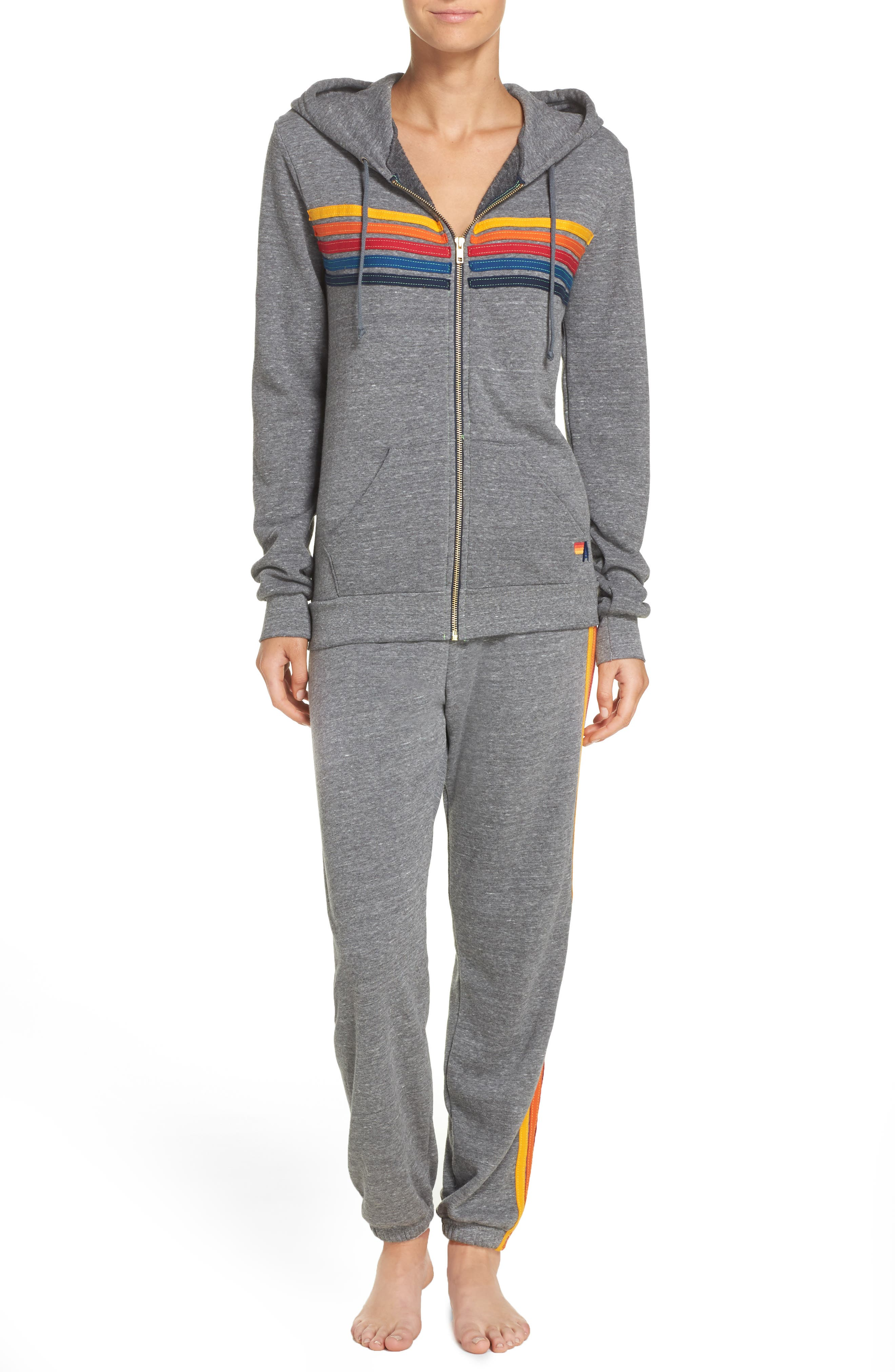 Stripe Sweatpants,                             Alternate thumbnail 7, color,                             Heather Grey