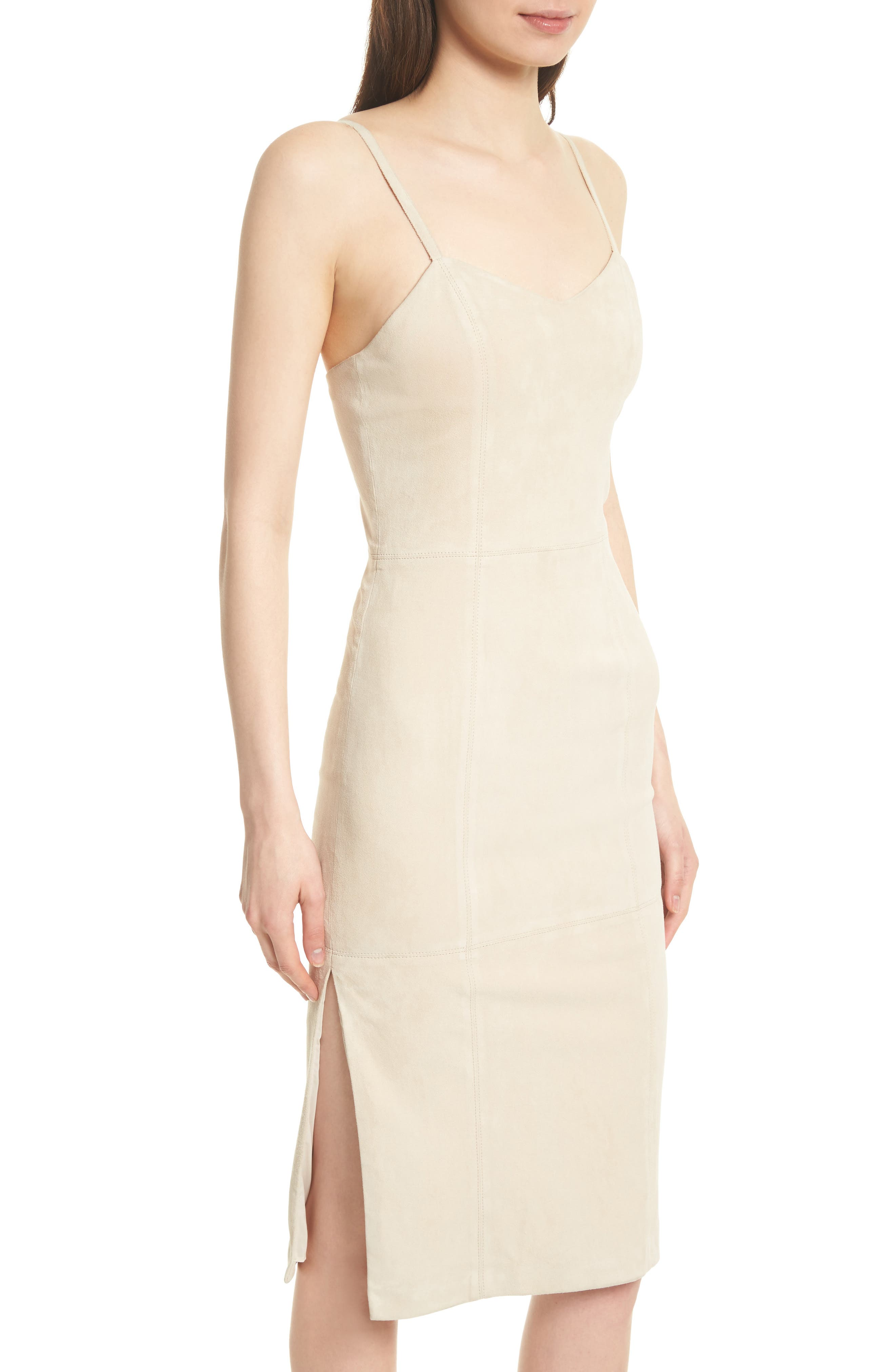 Rochell Suede Sheath Dress,                             Alternate thumbnail 4, color,                             Champagne