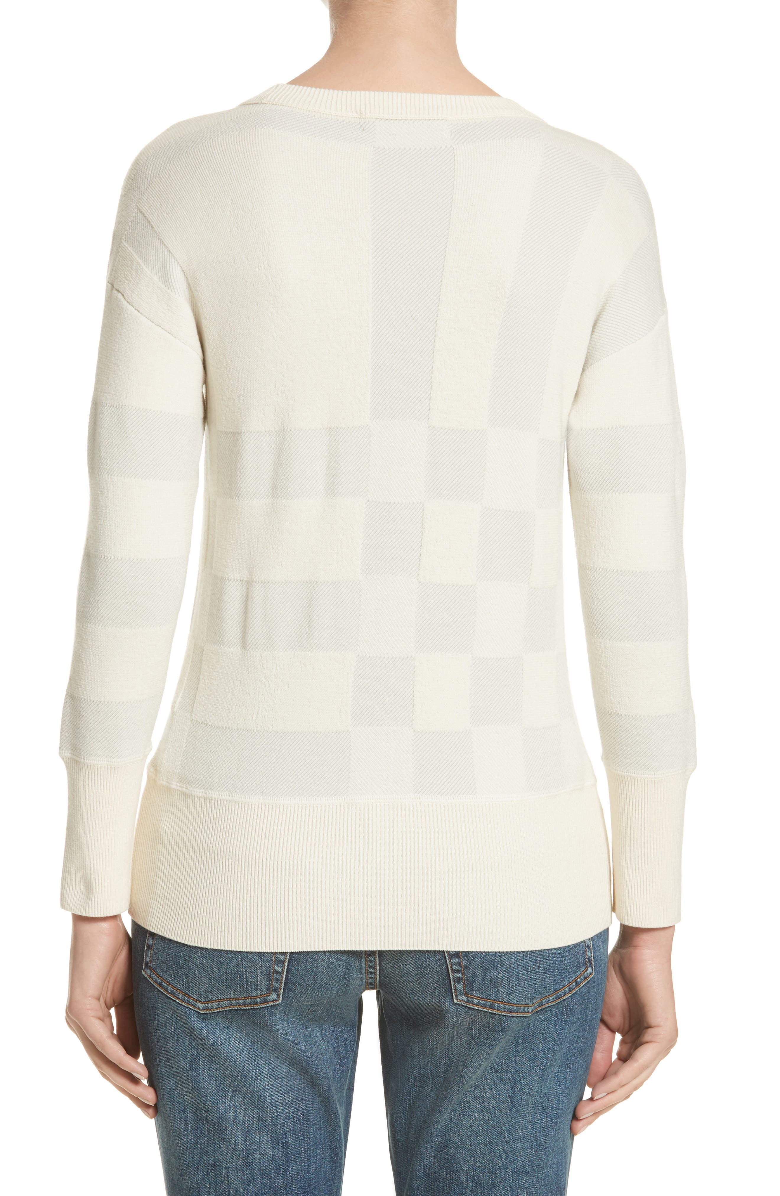 Alternate Image 2  - Burberry Check Knit Wool Blend Sweater (Nordstrom Exclusive)