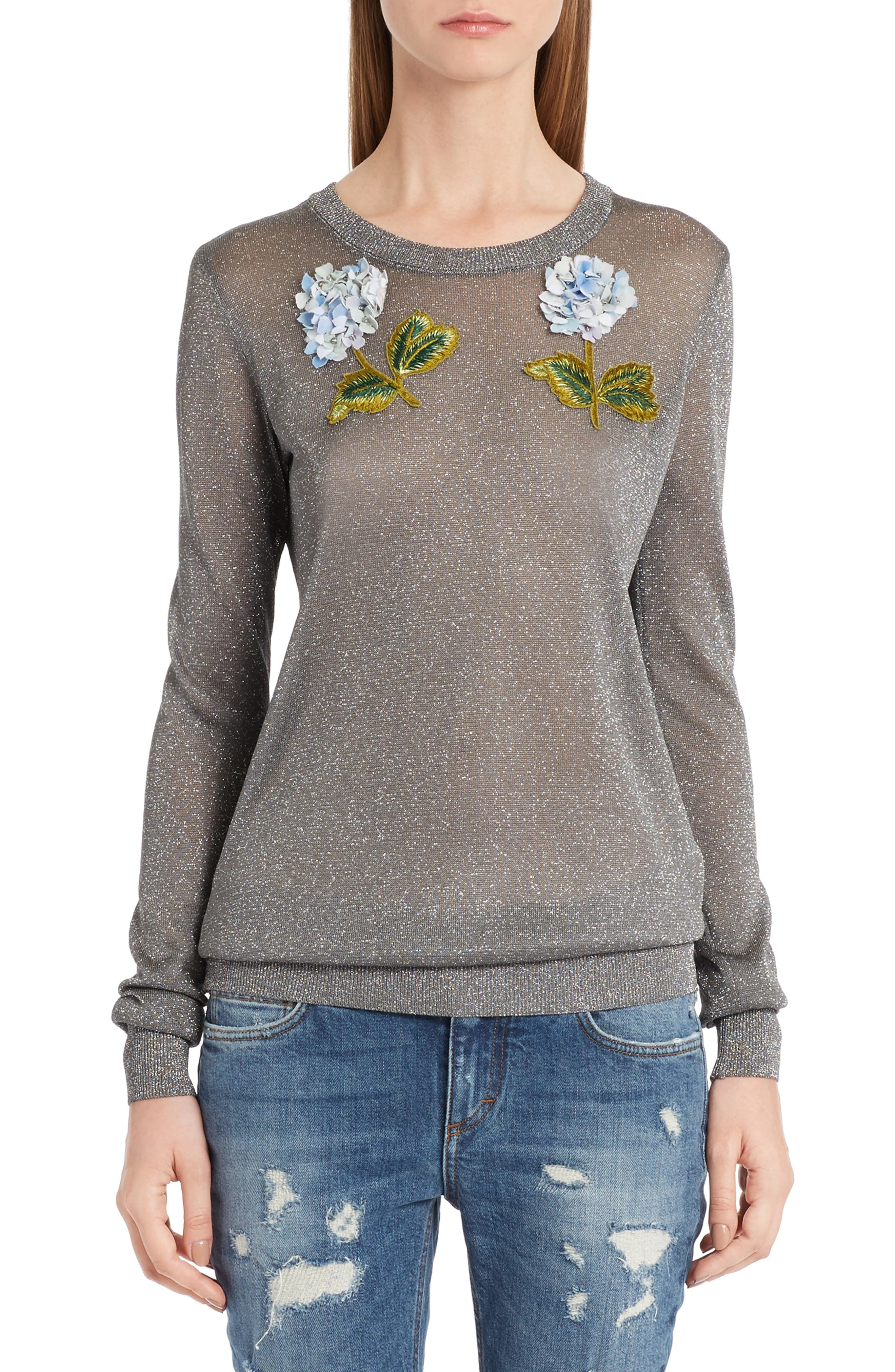 Embellished Metallic Sweater,                             Main thumbnail 1, color,                             Silver
