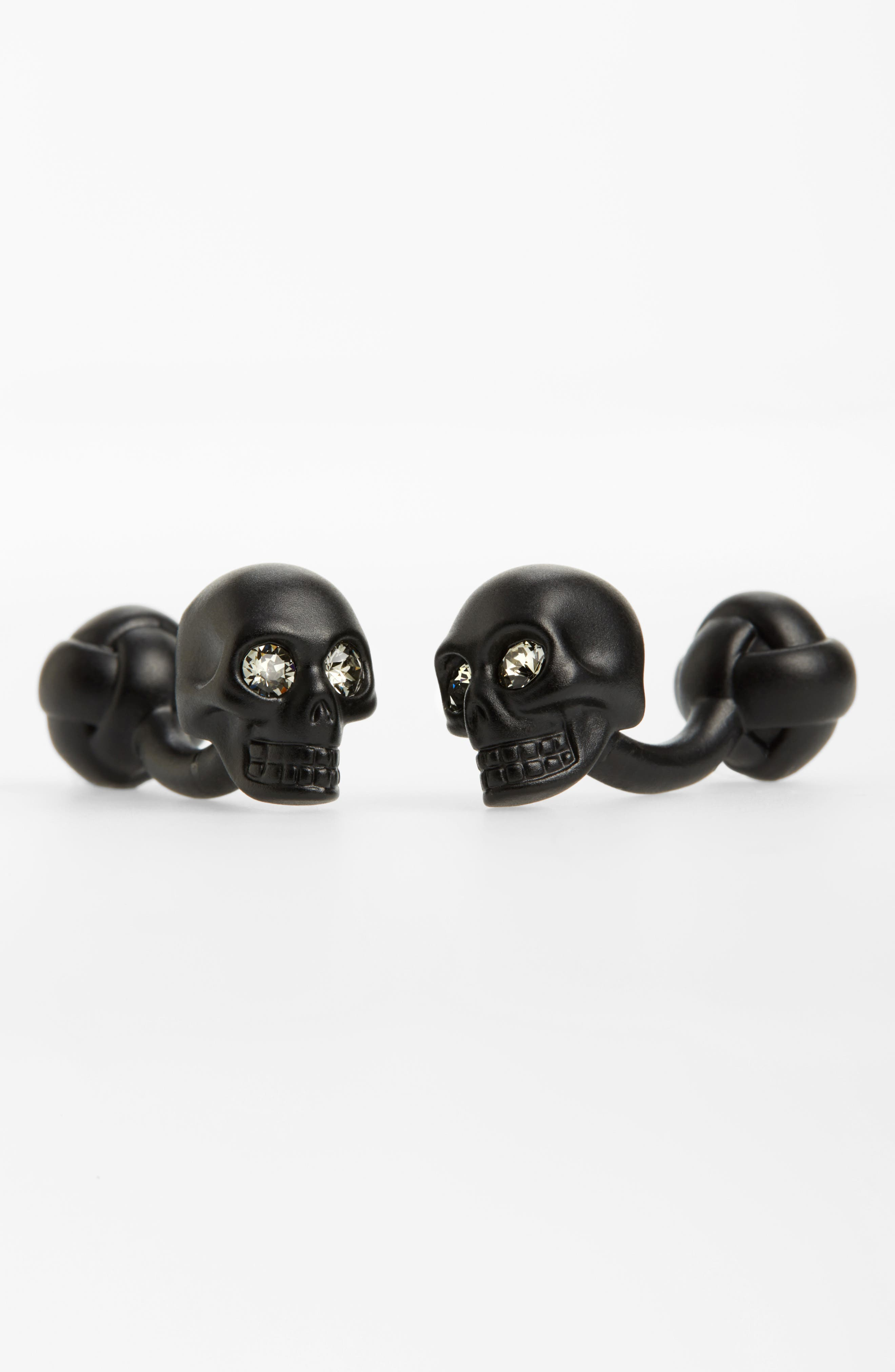 3D Skull Matte Brass Cuff Links,                             Main thumbnail 1, color,                             Black/ Crystal
