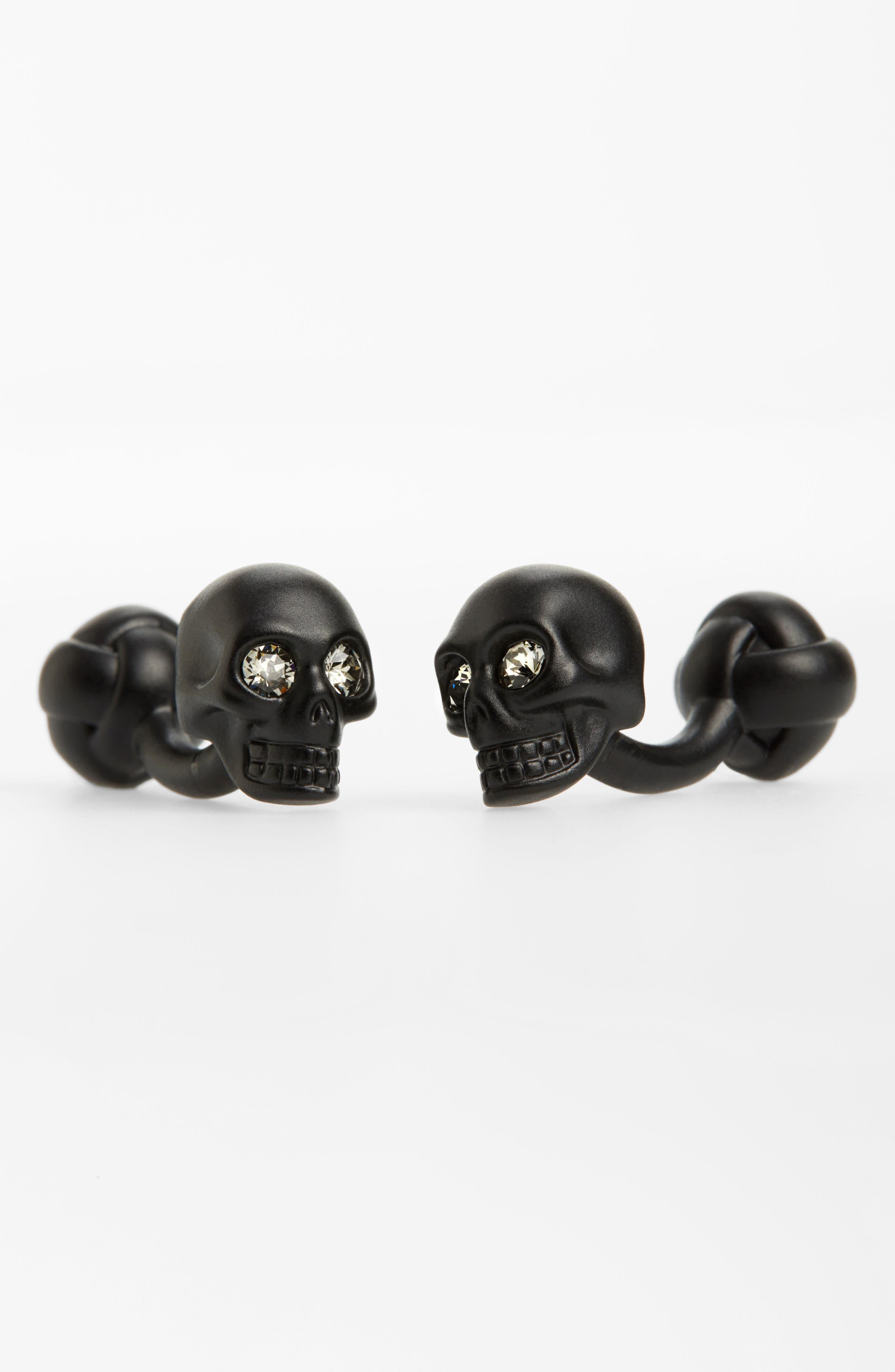 3D Skull Matte Brass Cuff Links,                         Main,                         color, Black/ Crystal