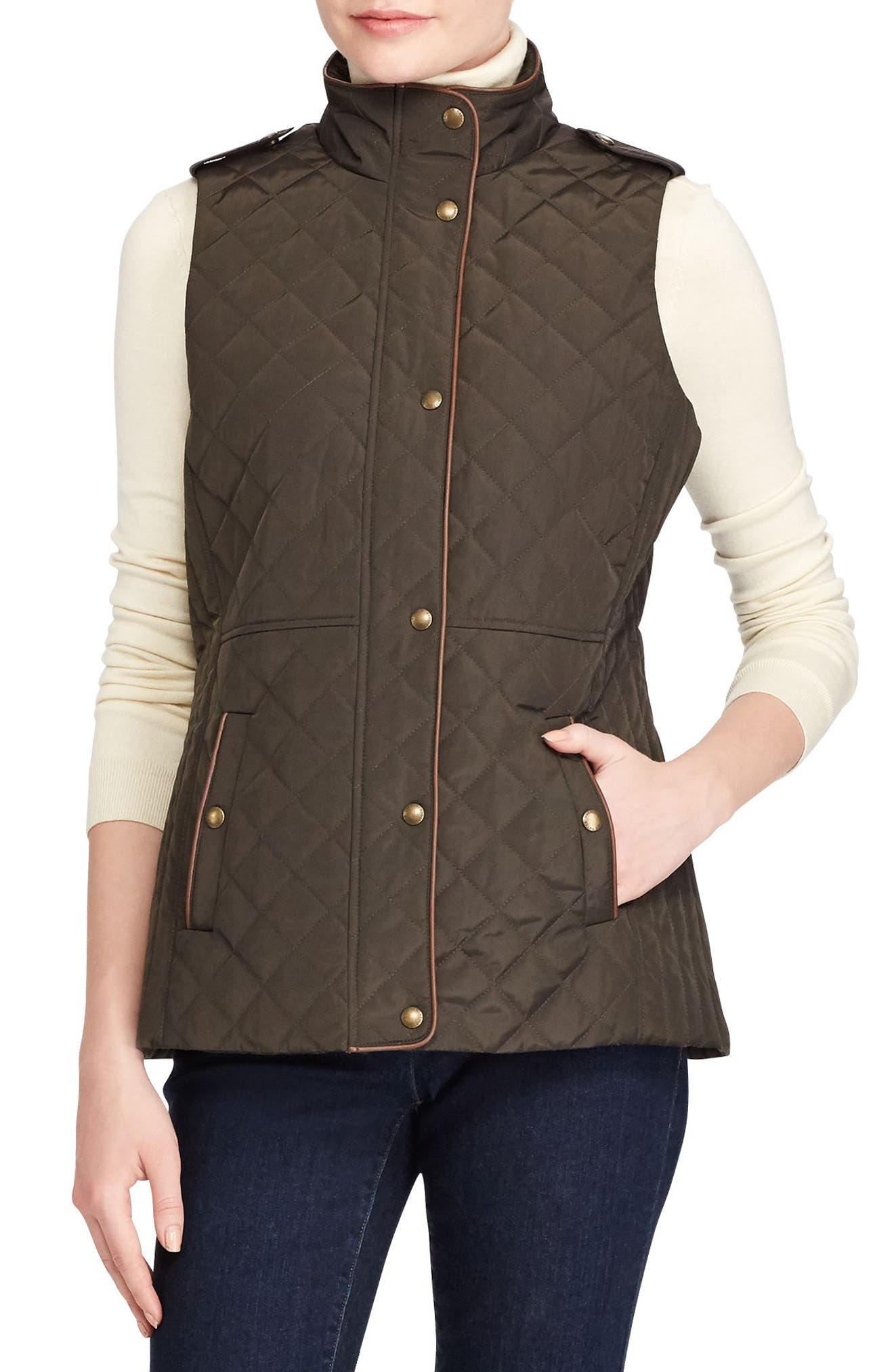 Faux Leather Trim Quilted Vest,                             Main thumbnail 1, color,                             Dark Moss