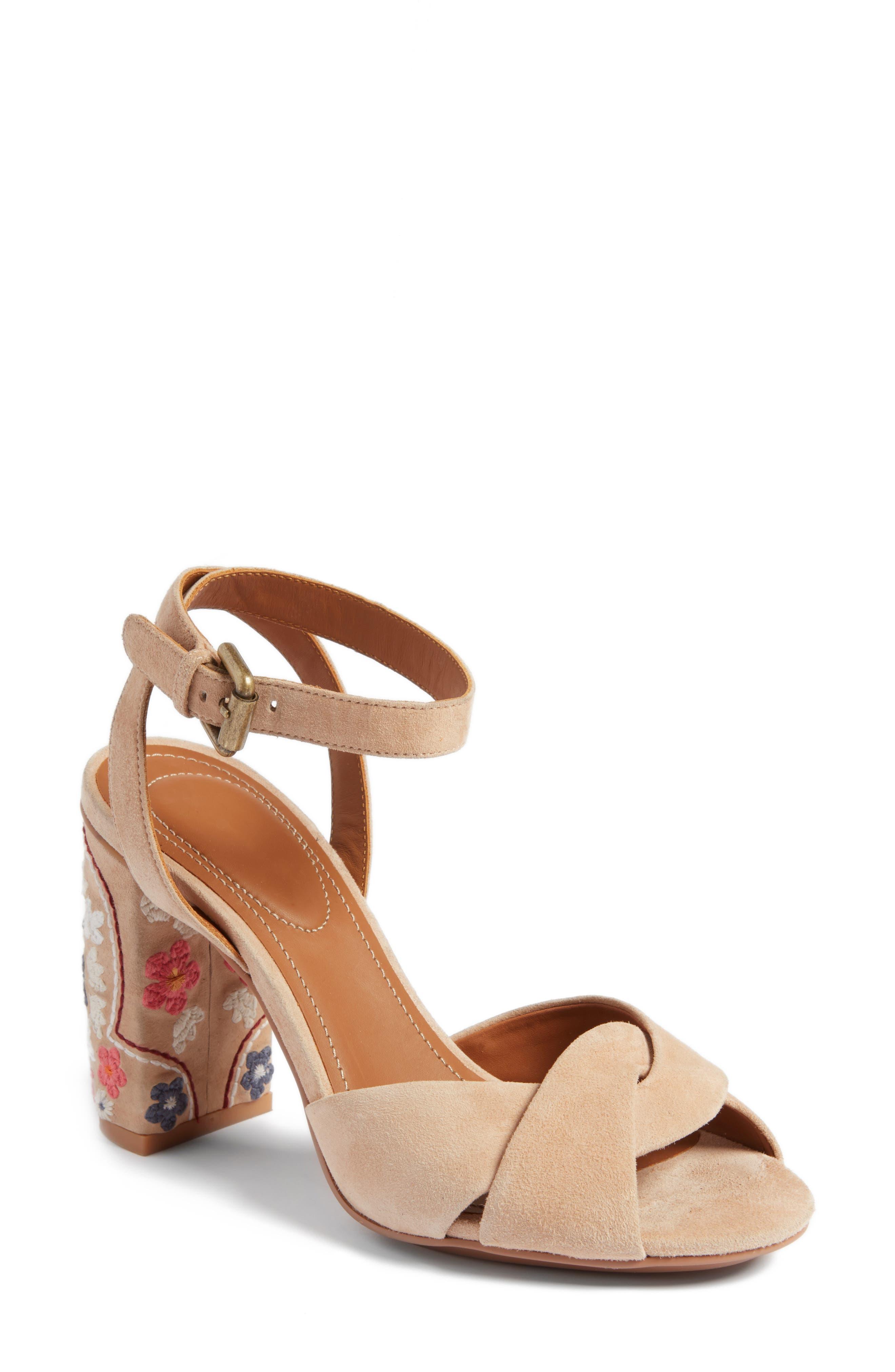 Gayla Embroidered Block Heel Sandal,                             Main thumbnail 1, color,                             Nude