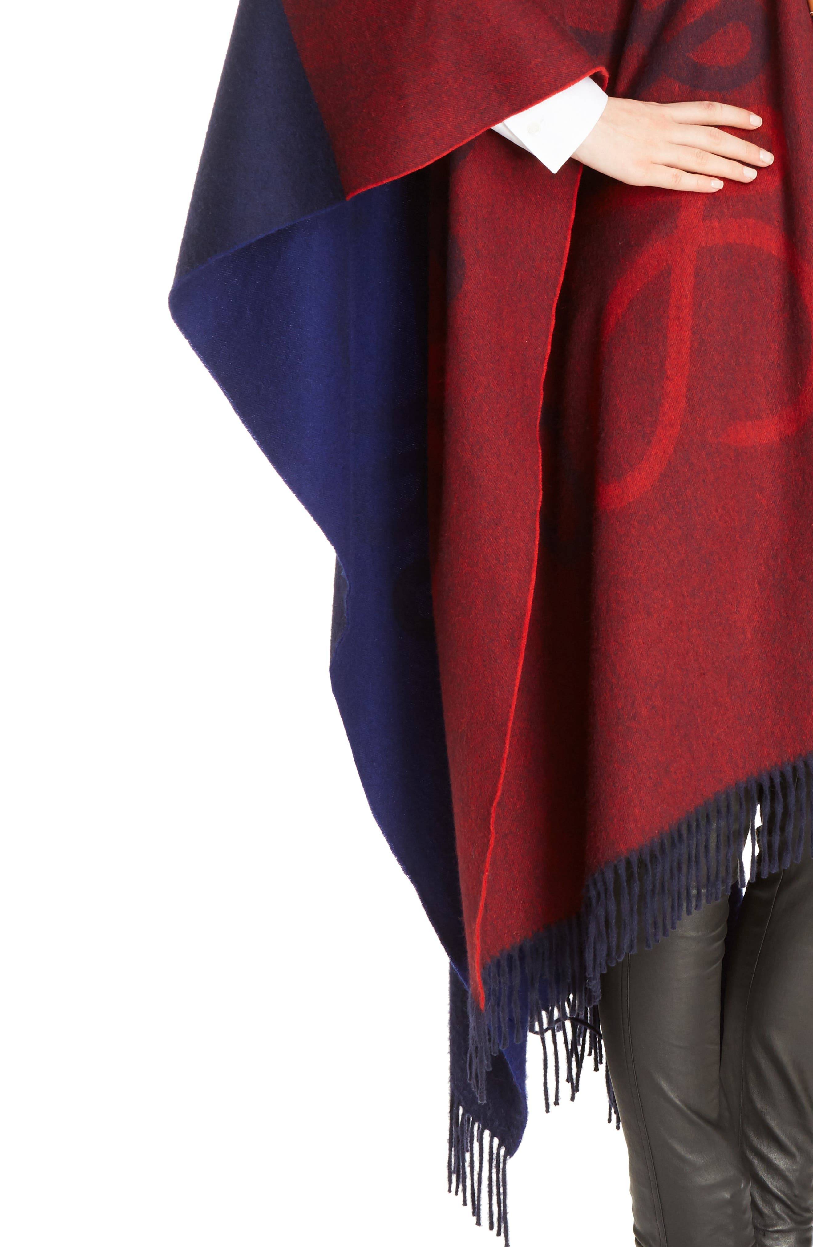 Logo Wool & Cashmere Blanket Cape,                             Alternate thumbnail 6, color,                             Red/ Navy